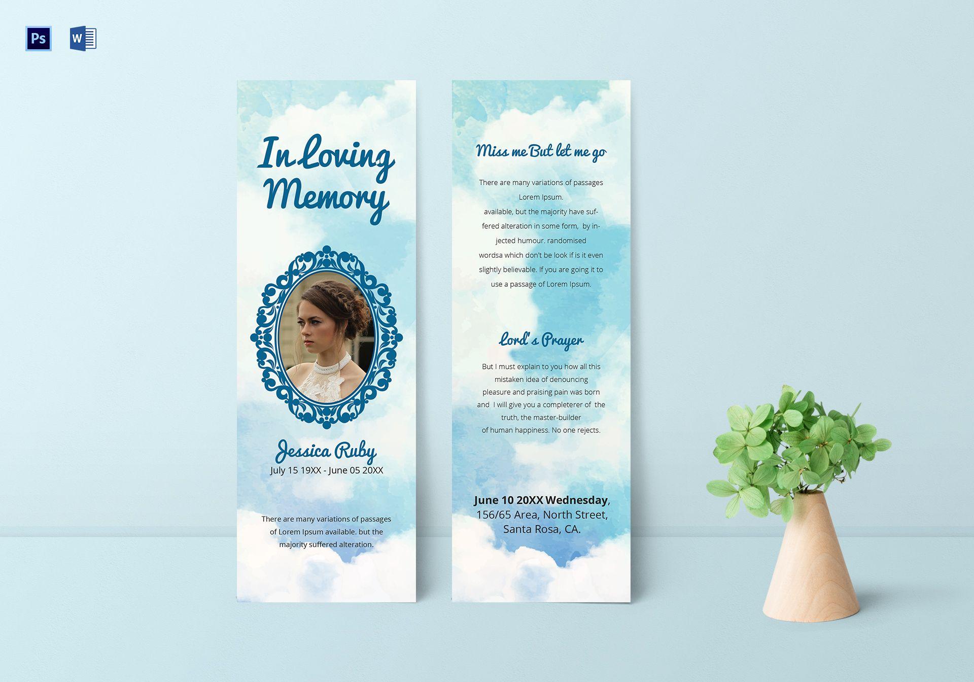 Editable Memorial Bookmark Template