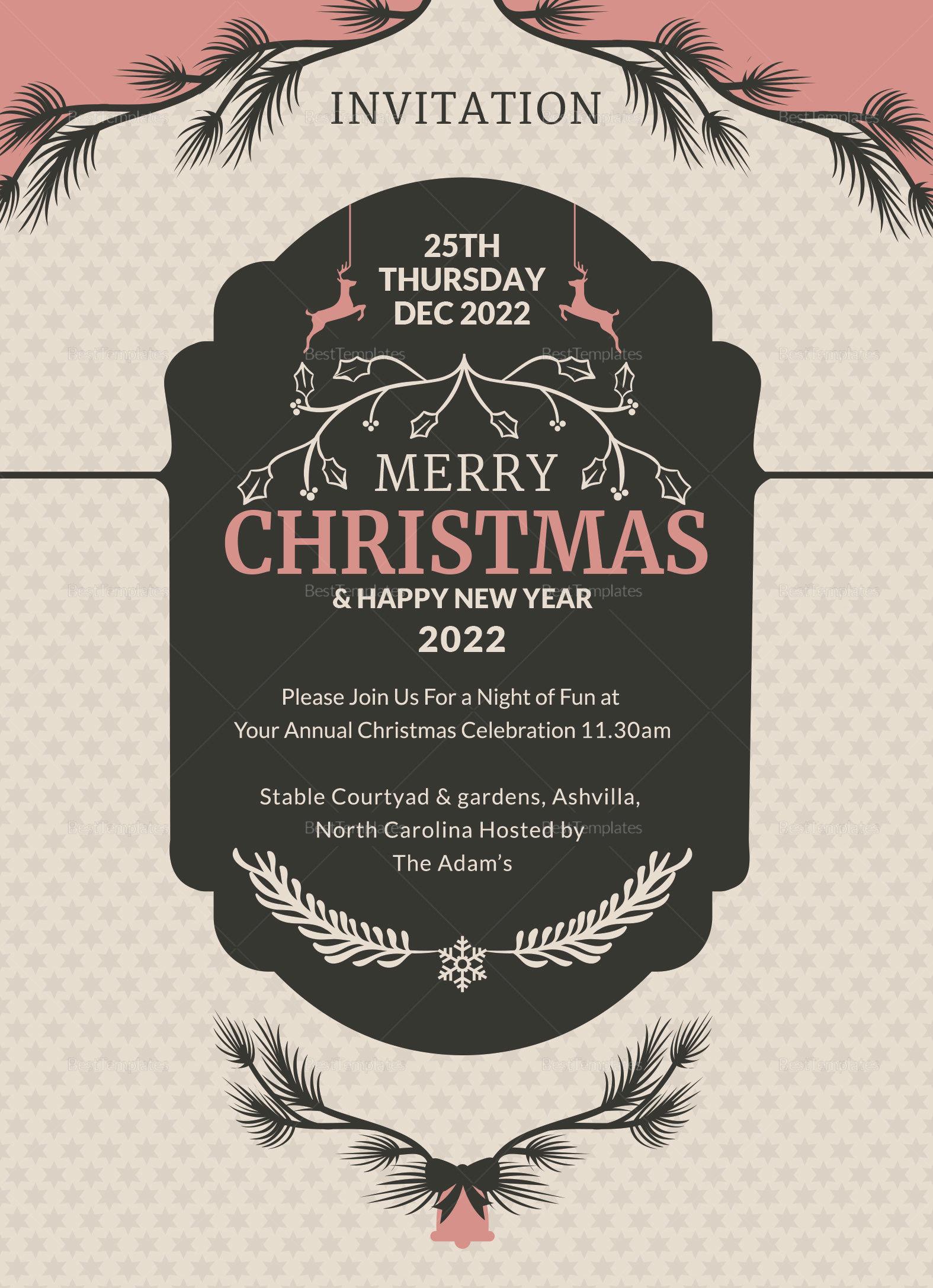 Beautiful Christmas Invitation Card