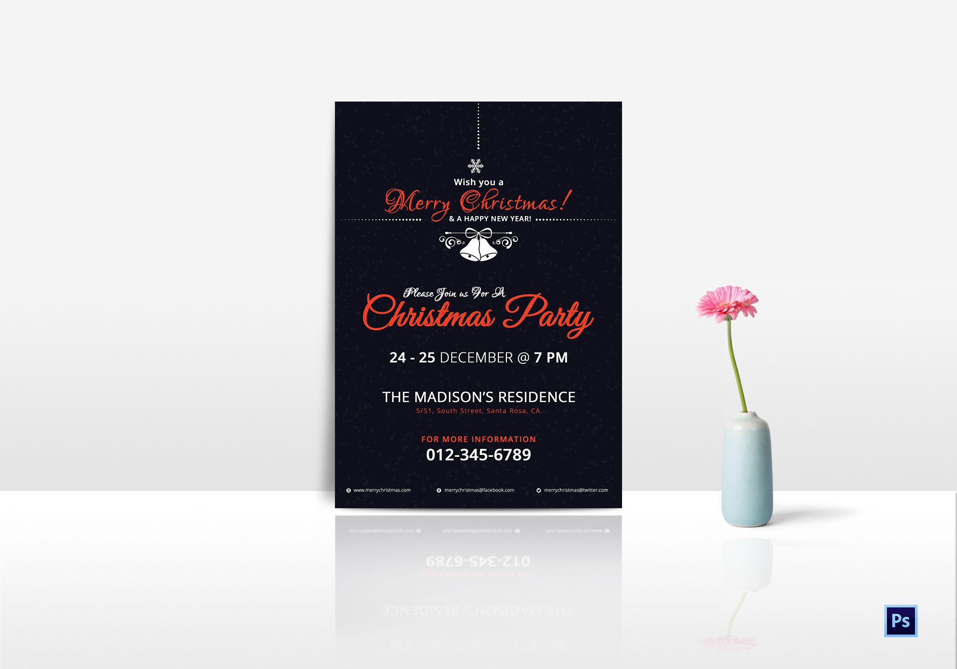 Invitation for Christmas Party Template