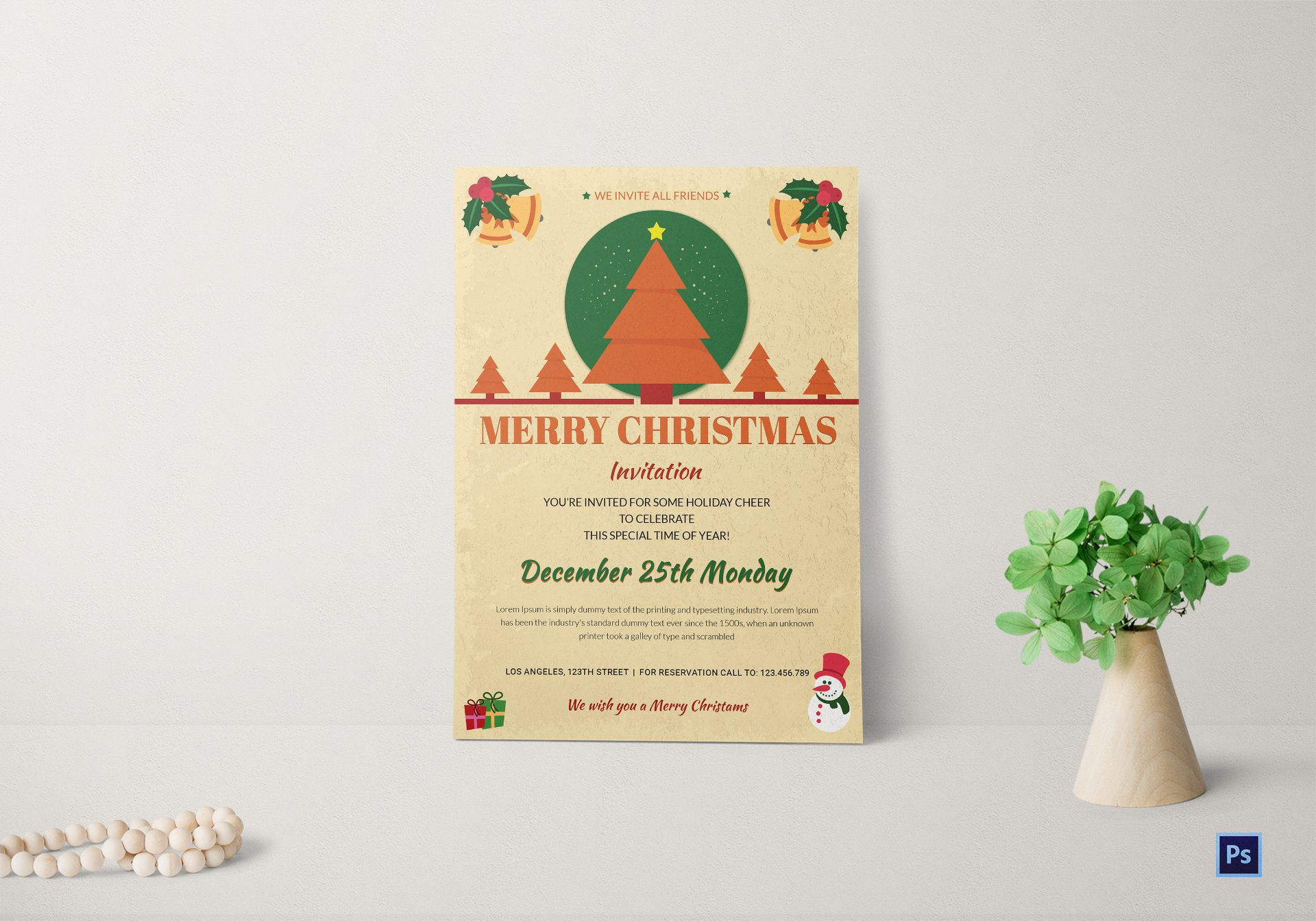 christmas drinks invitation template in adobe photoshop