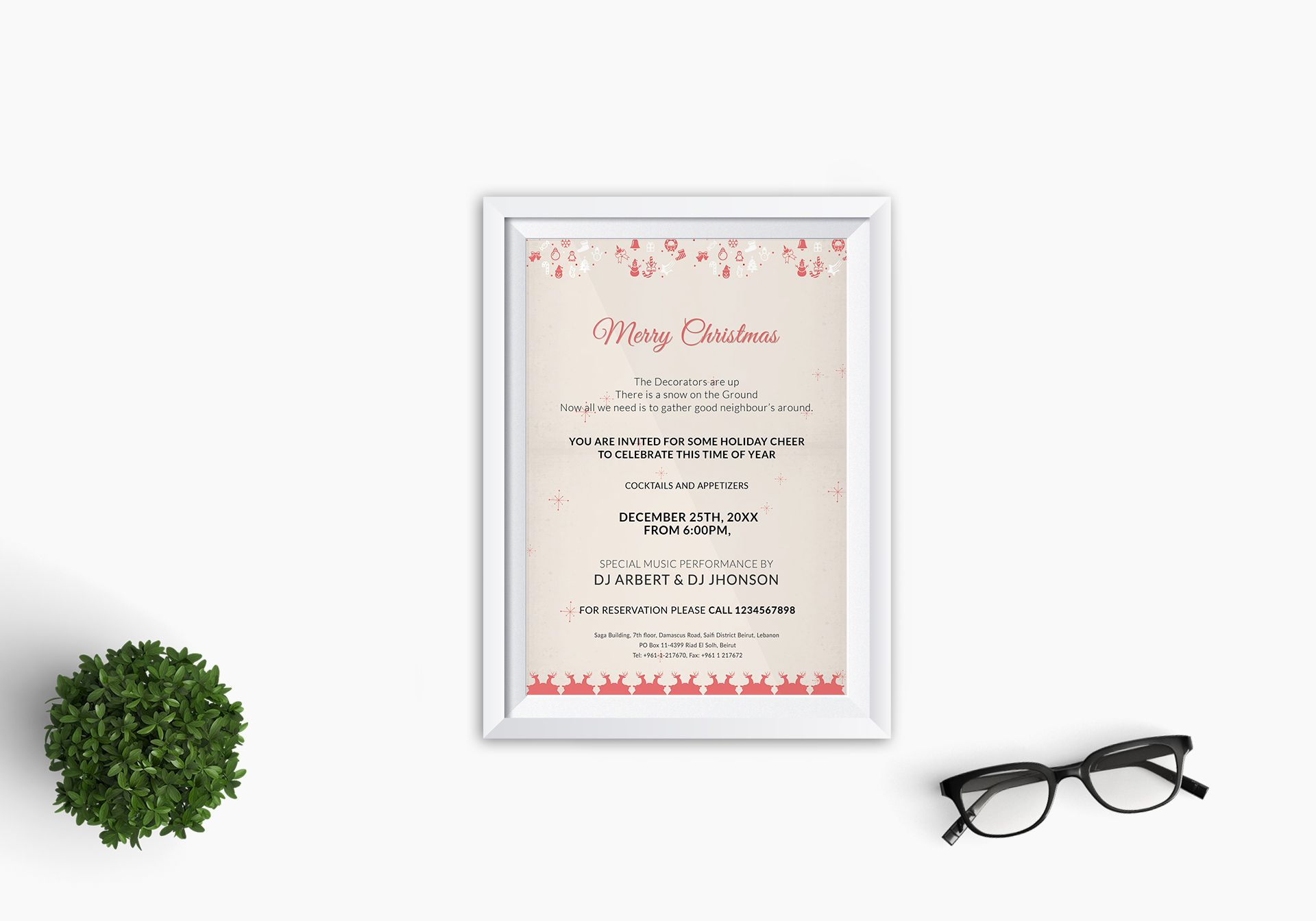 Christmas Glow Hanging Stars Party Invitation Template