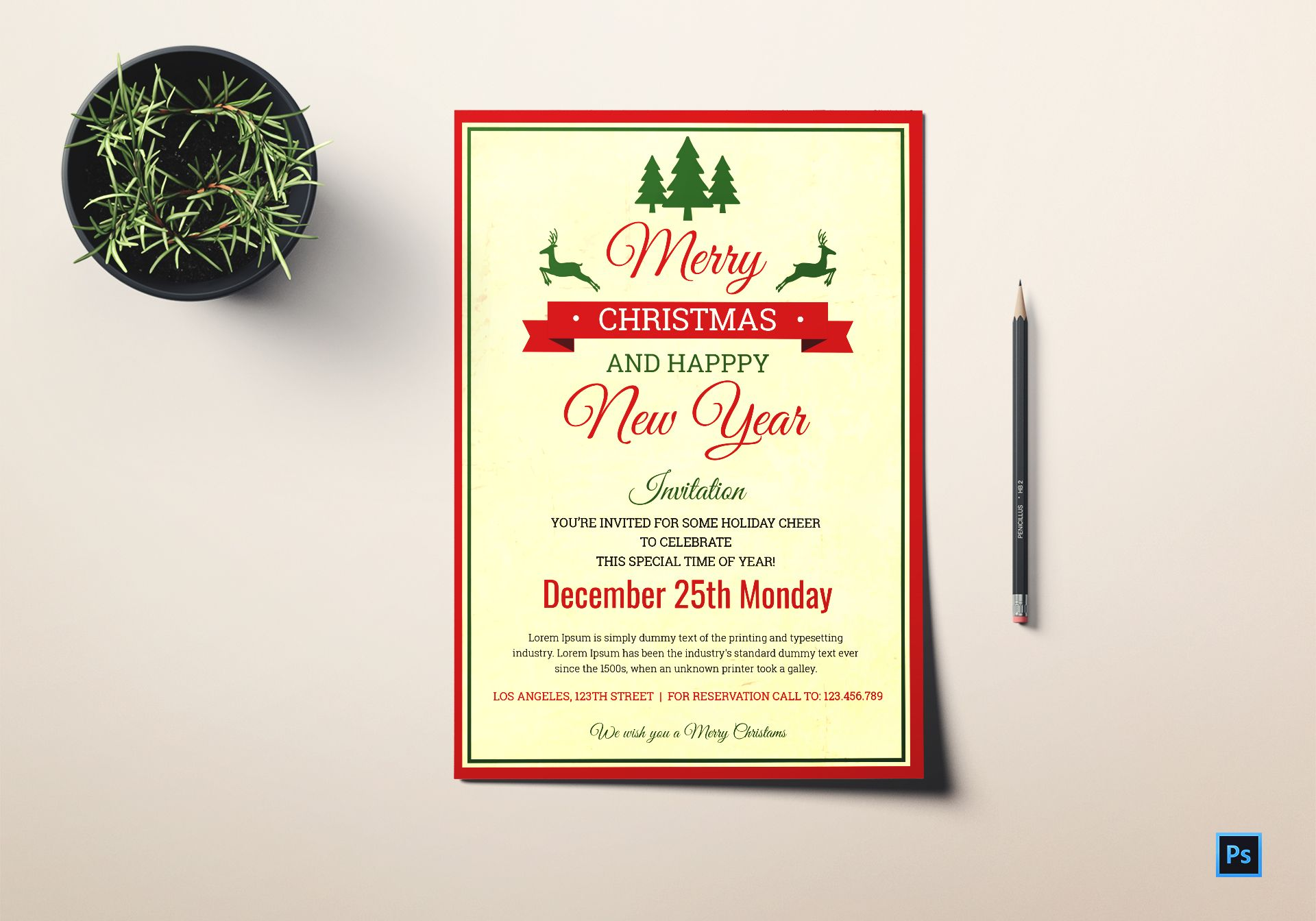 Christmas and New Year invitation Template