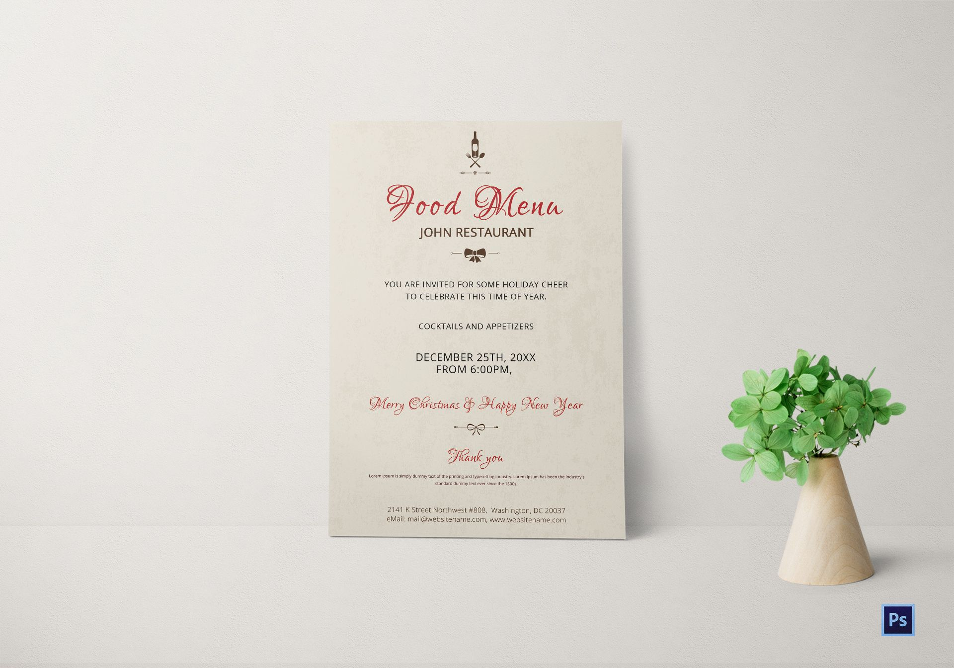 elegant christmas party invitation template in adobe photoshop