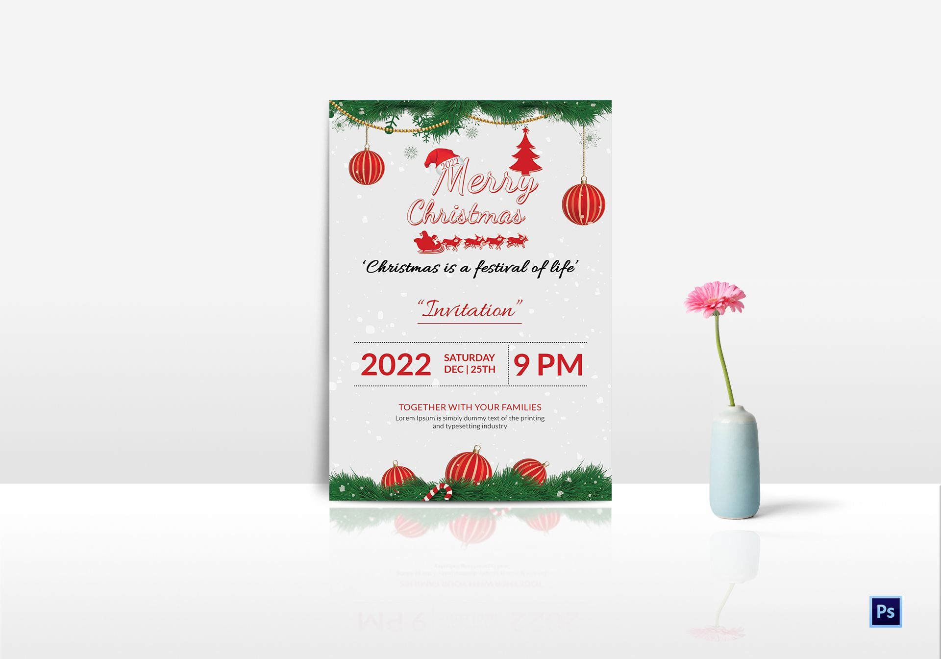 family christmas party invitation template in adobe photoshop