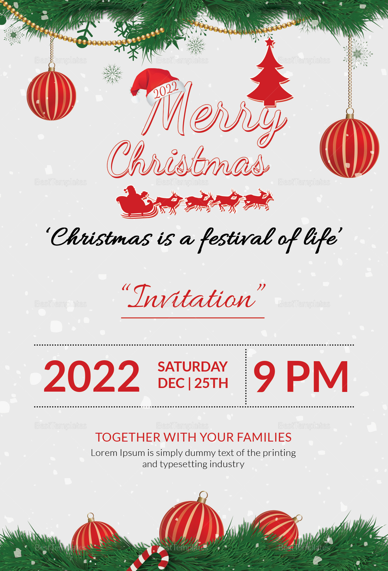 Family Christmas Party Invitation Template