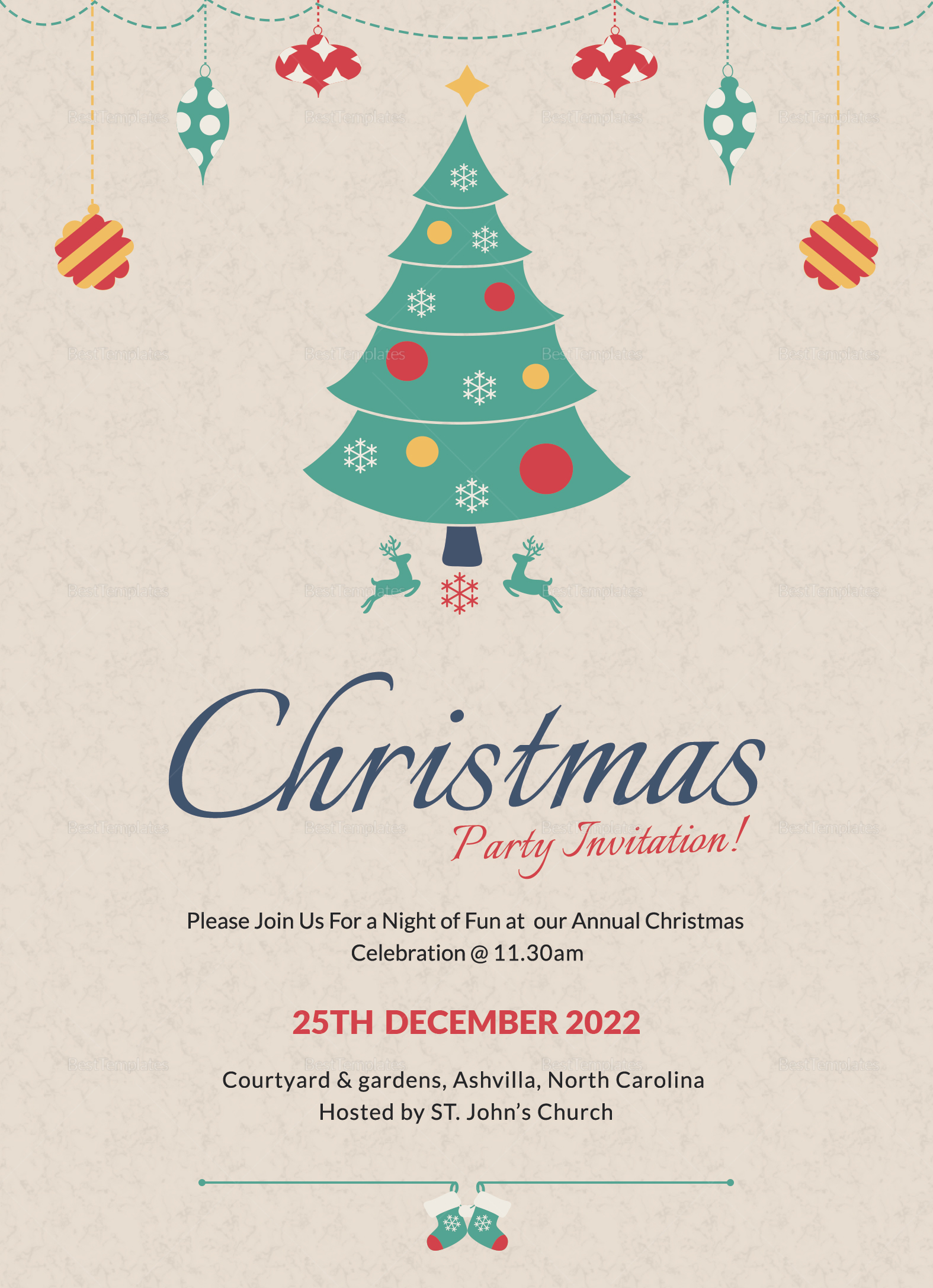 Christmas Party Invitation Template In Adobe Photoshop