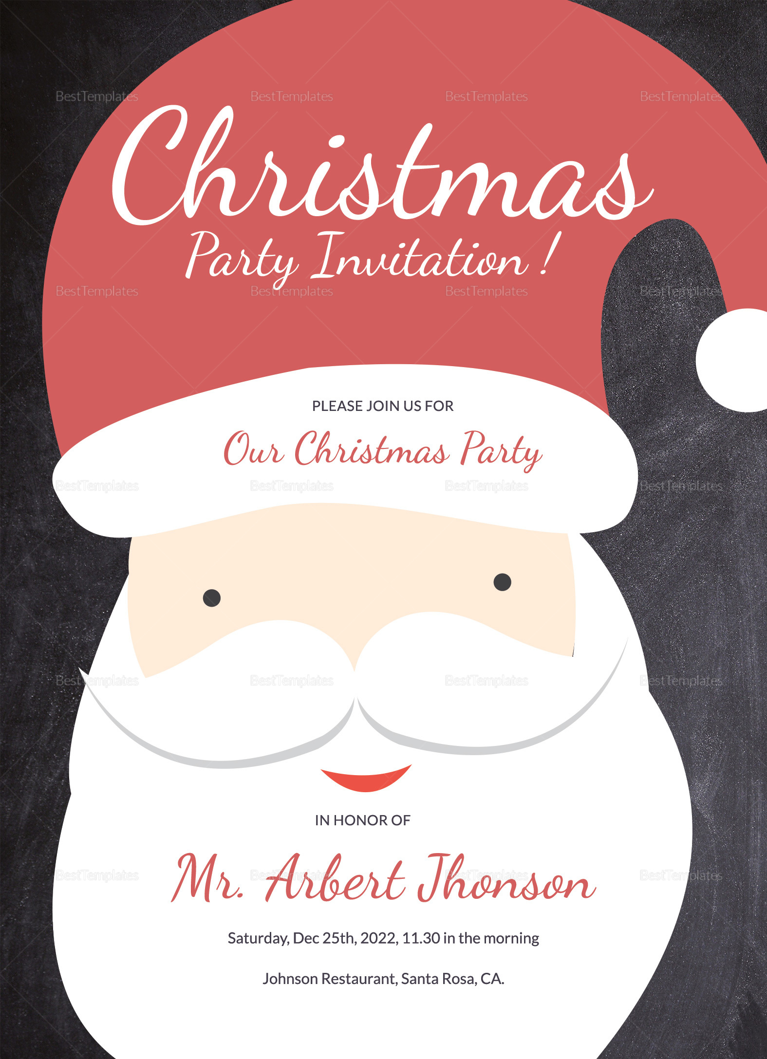 merry christmas party invitation template in adobe photoshop