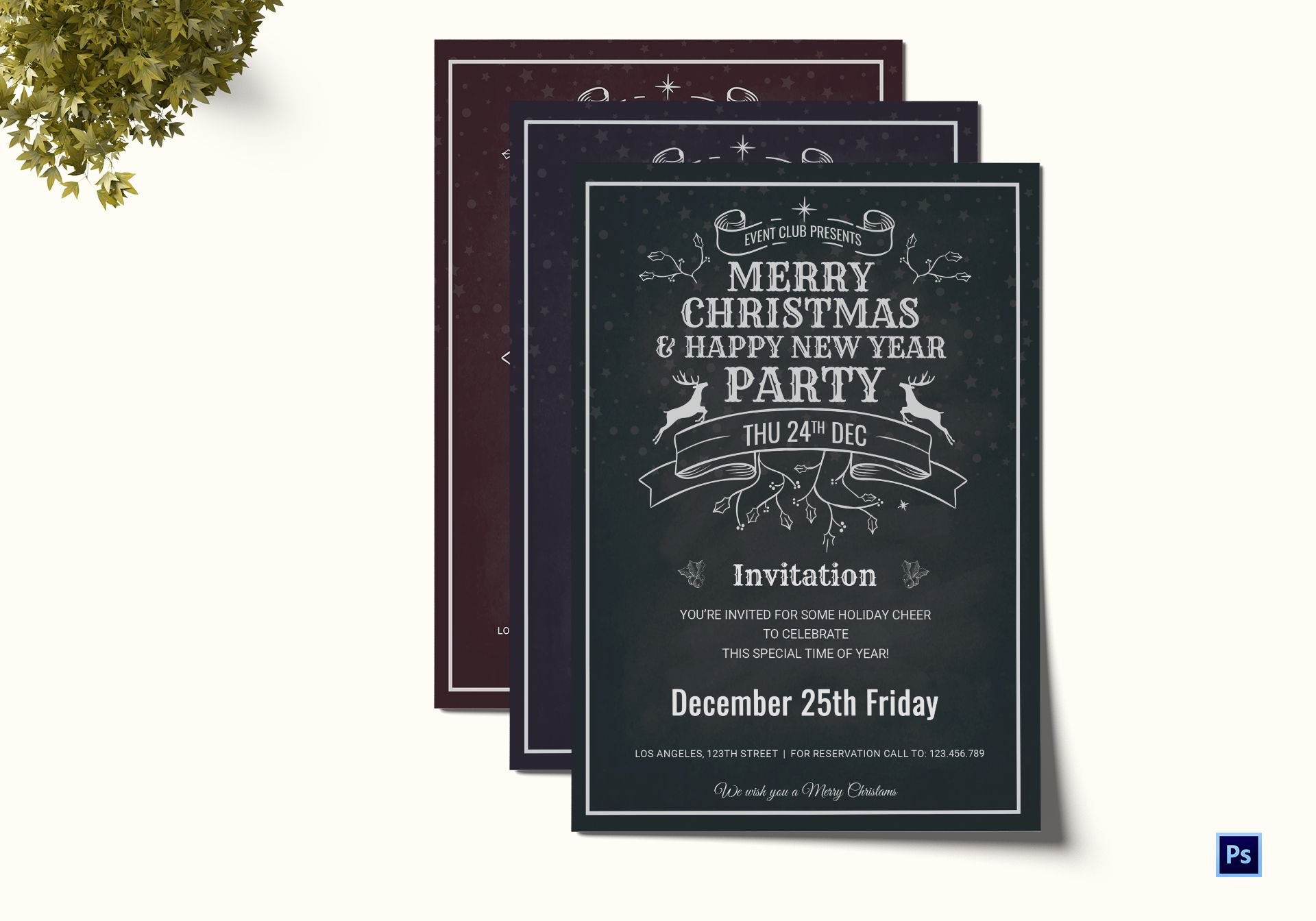 Christmas Holiday Invitation Card