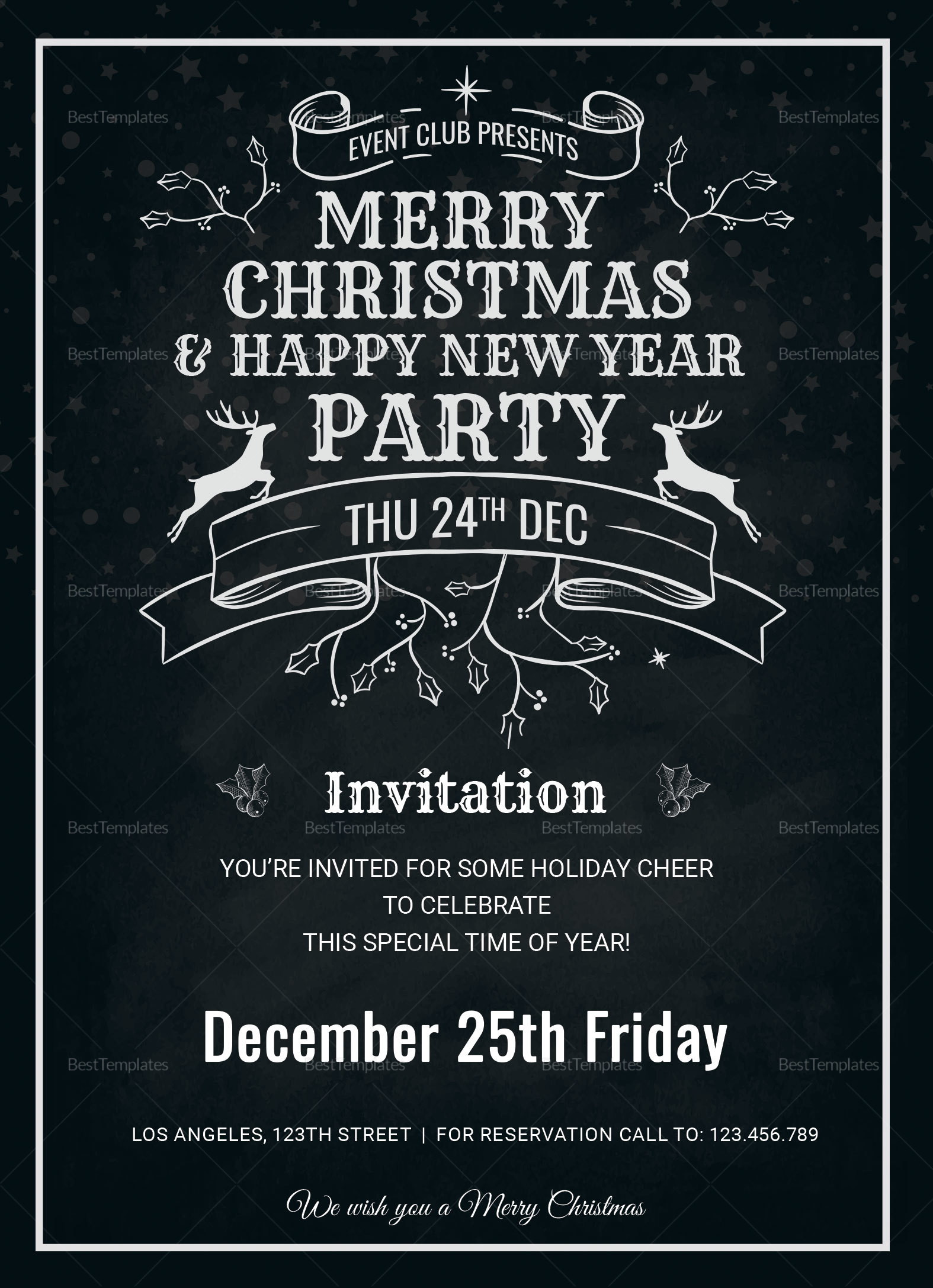 Elegant Christmas Holiday Invitation Card