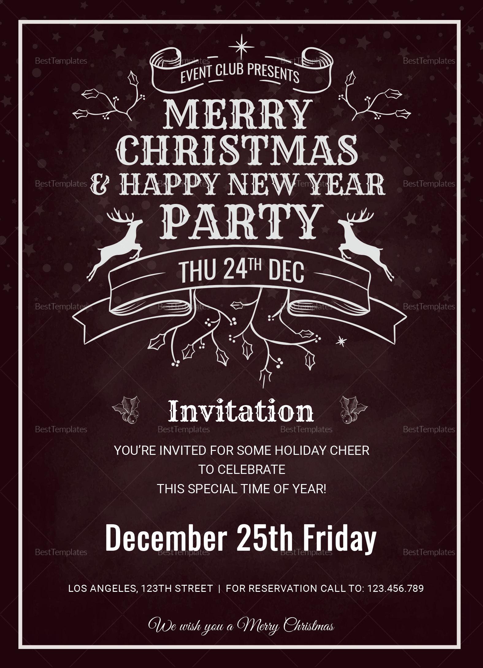 Printable Christmas Holiday Invitation Card
