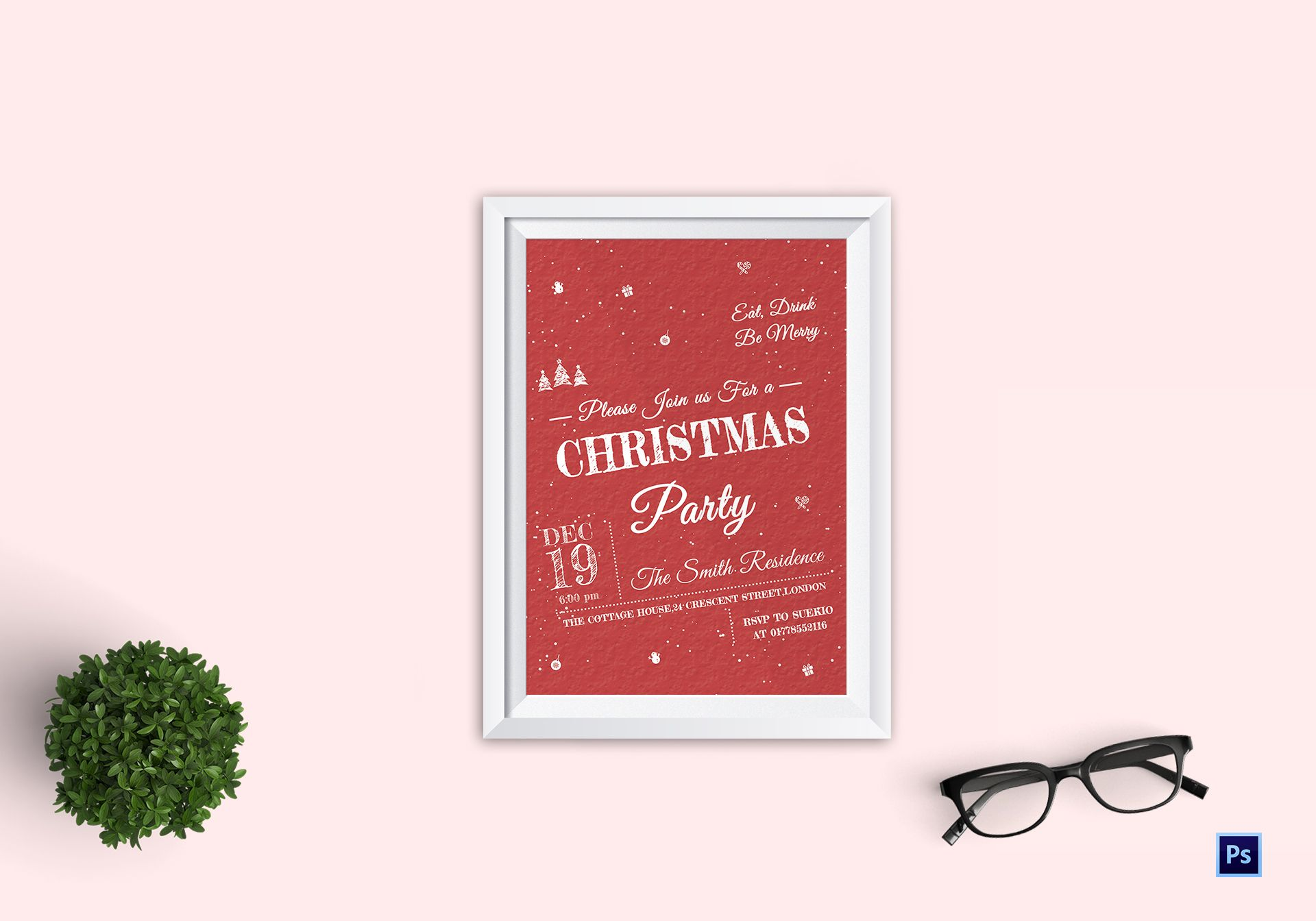 Red Christmas Party Invitation Template