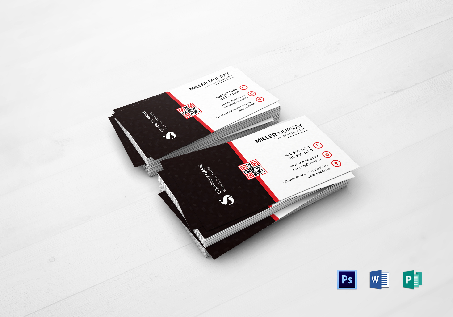 Minimal Business Card Design Template In Psd Publisher Word