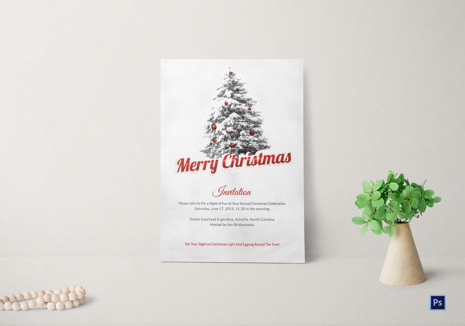 Christmas Invitation.Merry Christmas Invitation Card
