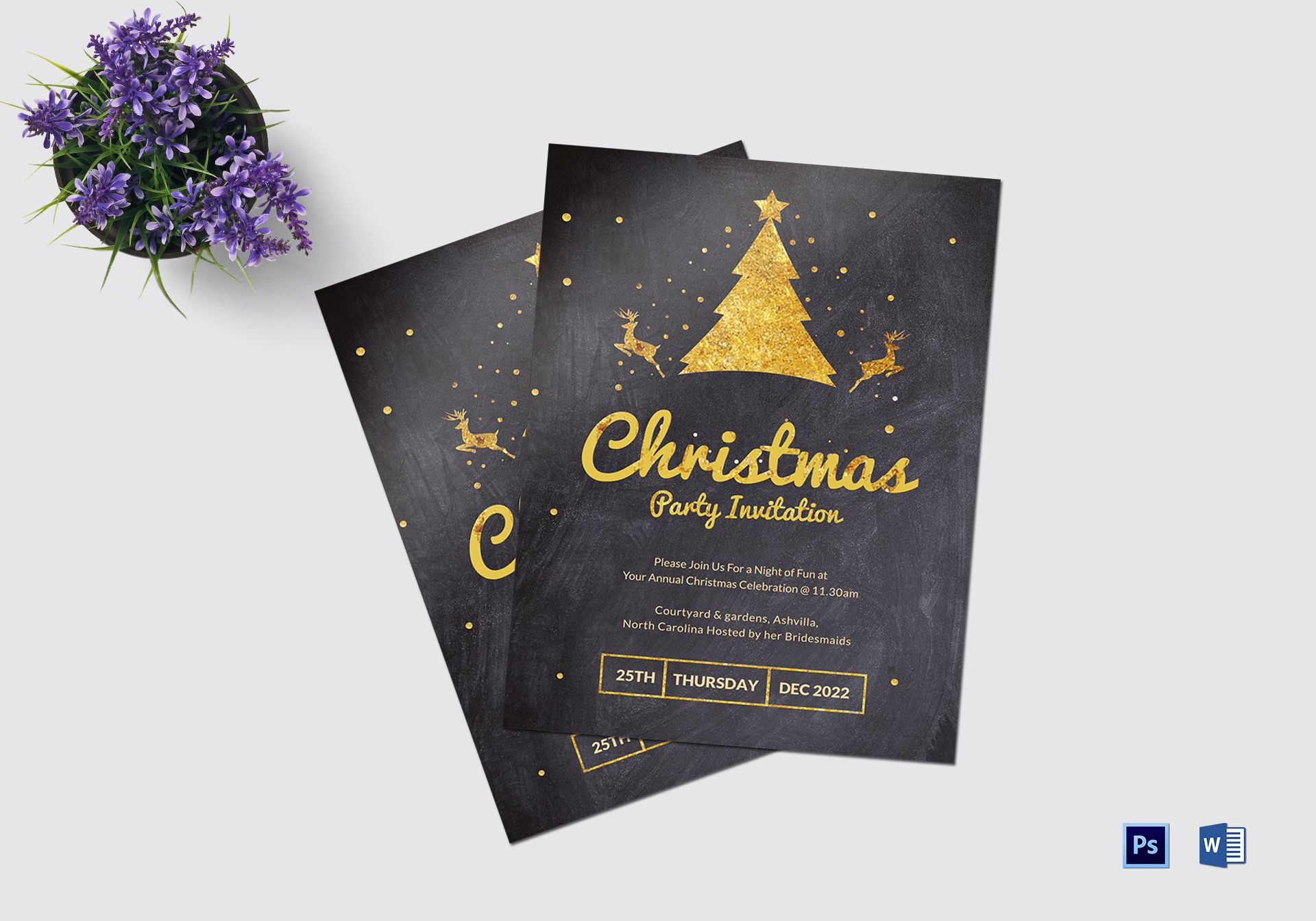 Golden Merry Christmas Party Invitation Template