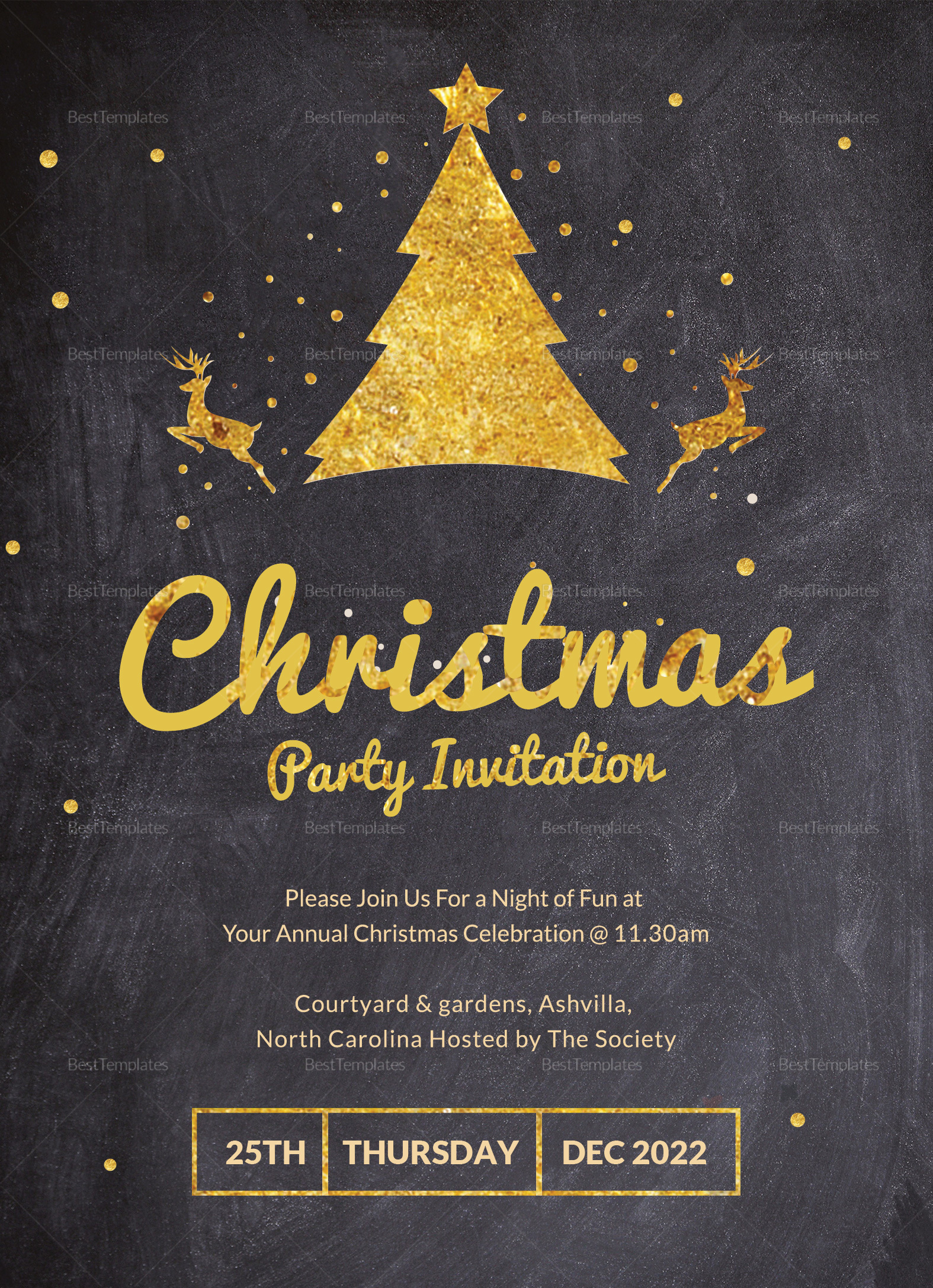 golden merry christmas party invitation template in adobe