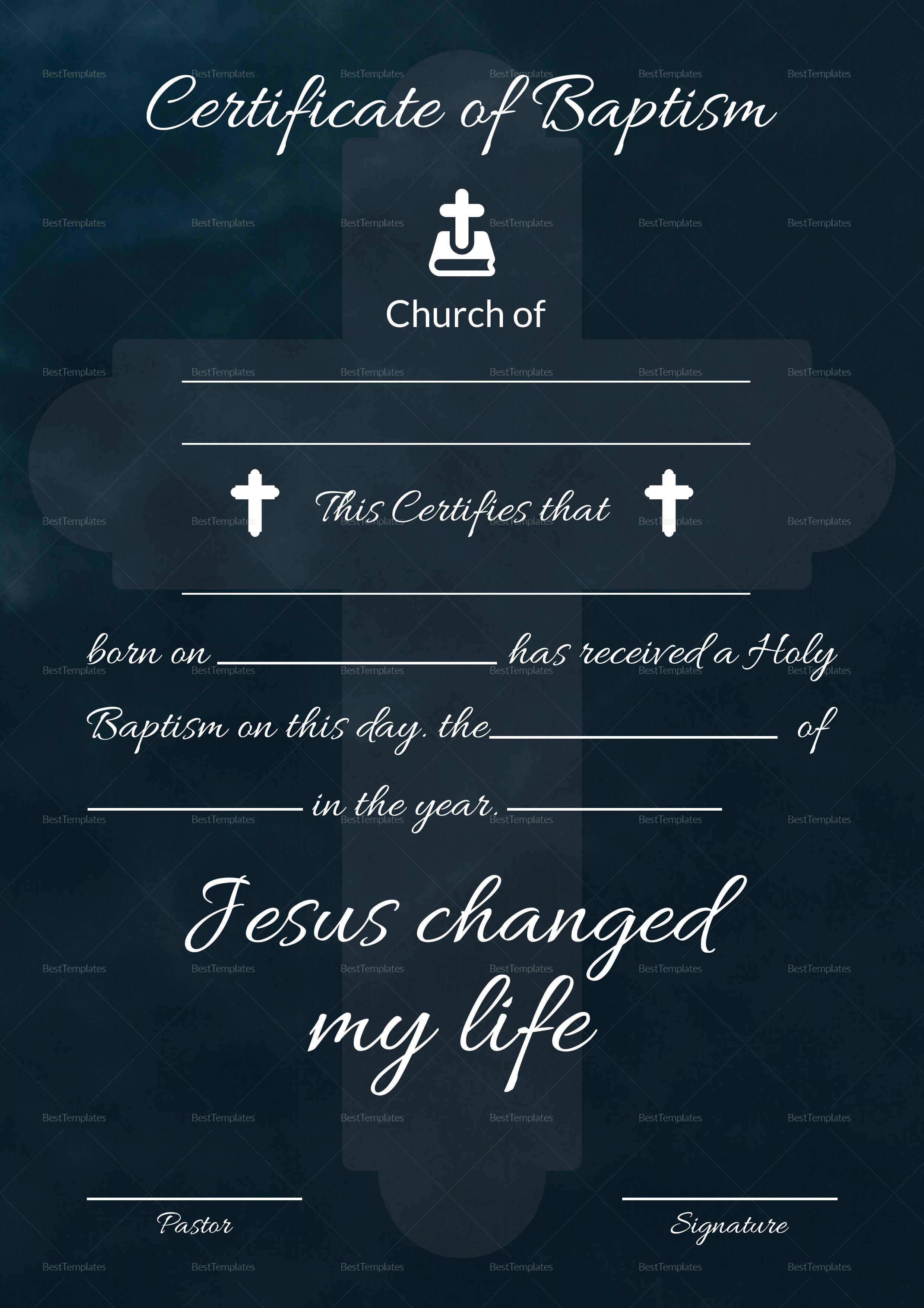 Baptismal Certificate Template In Adobe Photoshop Microsoft Word