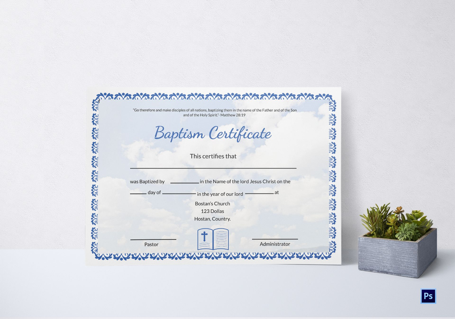 editable baptism certificate template in adobe photoshop microsoft word