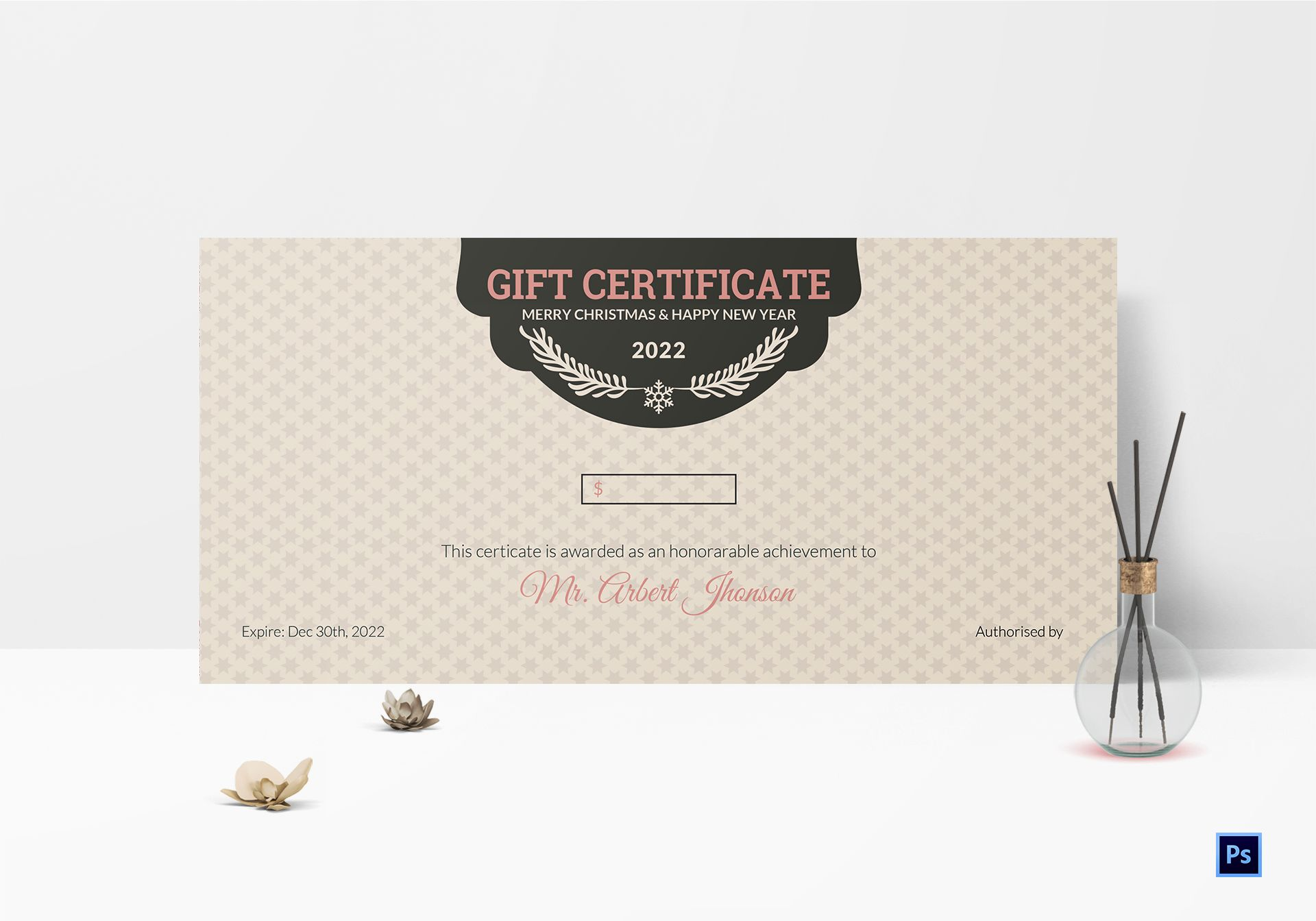 christmas and happy new year gift certificate template