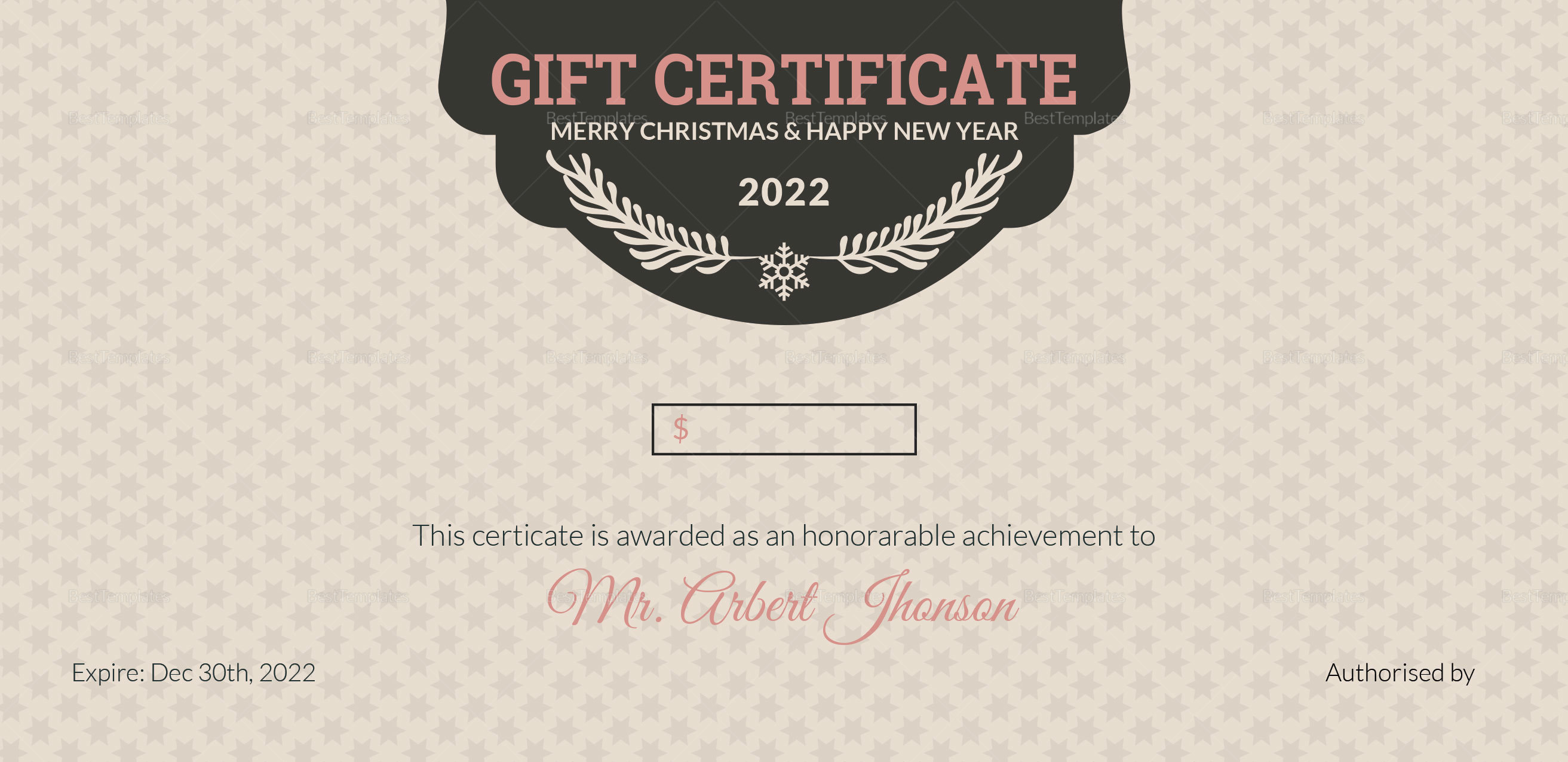 Christmas and Happy New Year Gift Certificate