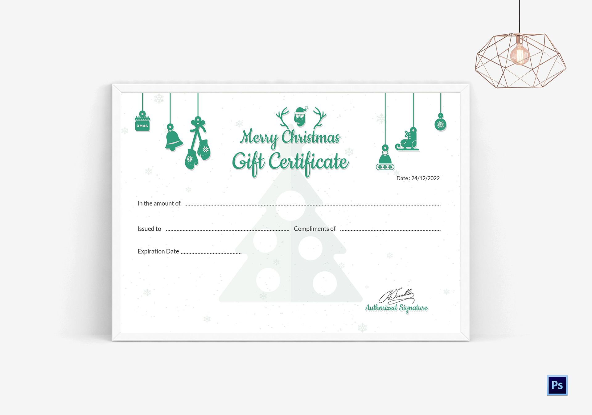 Editable Christmas Gift Certificate Template In Adobe Photoshop
