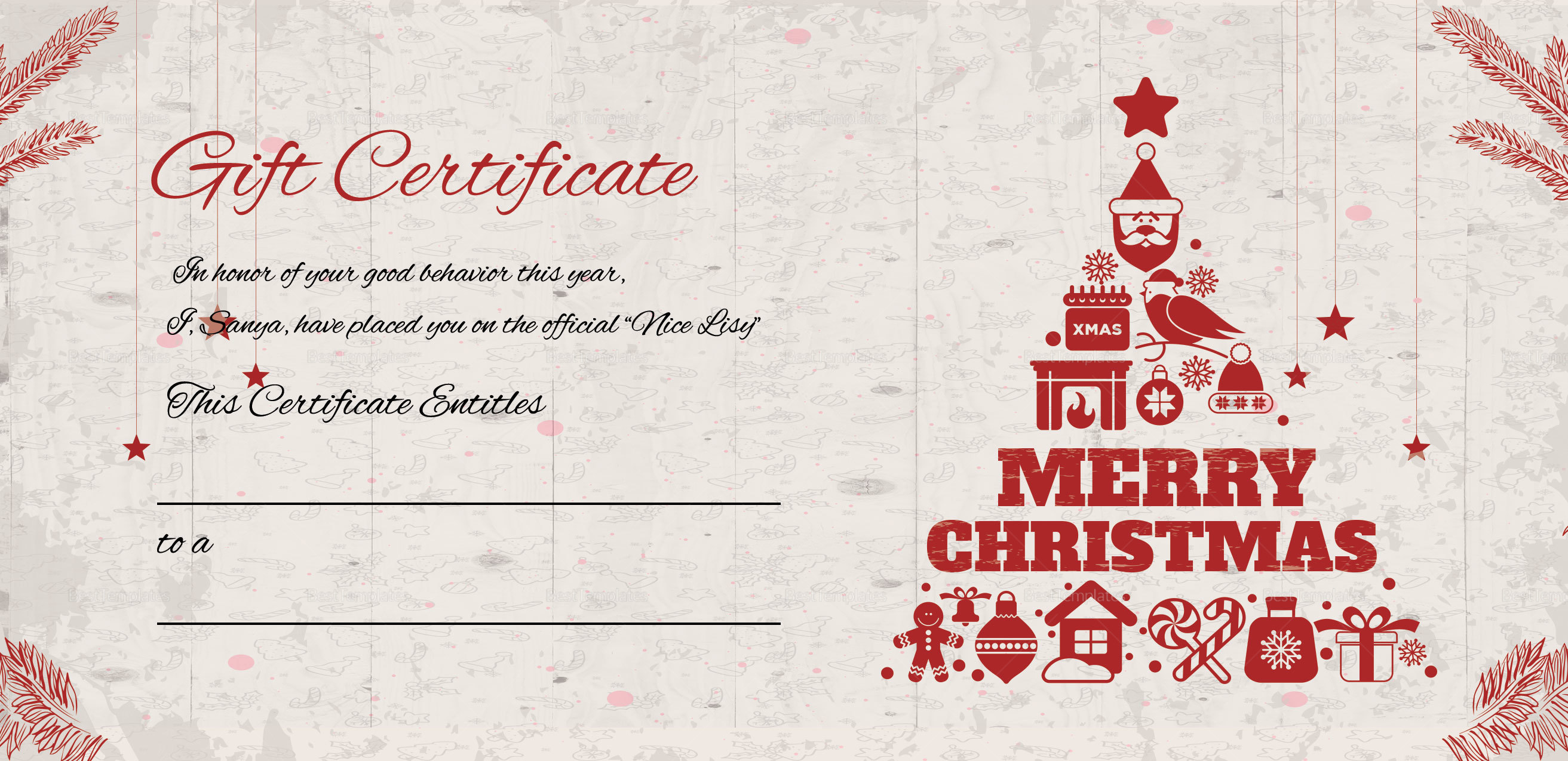 Merry Christmas Gift Certificate Template in Adobe Photoshop