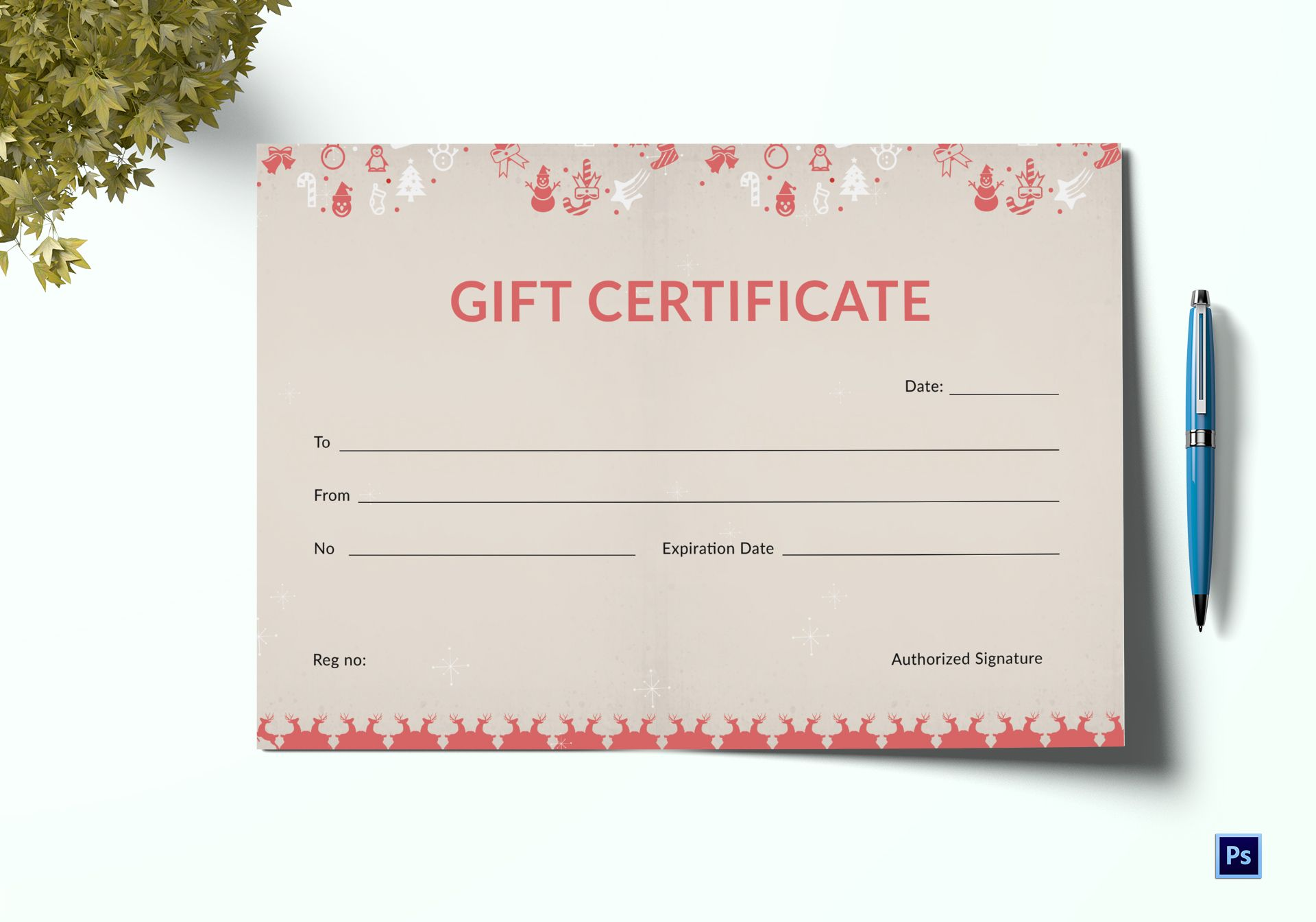 christmas holiday gift certificate template in adobe photoshop
