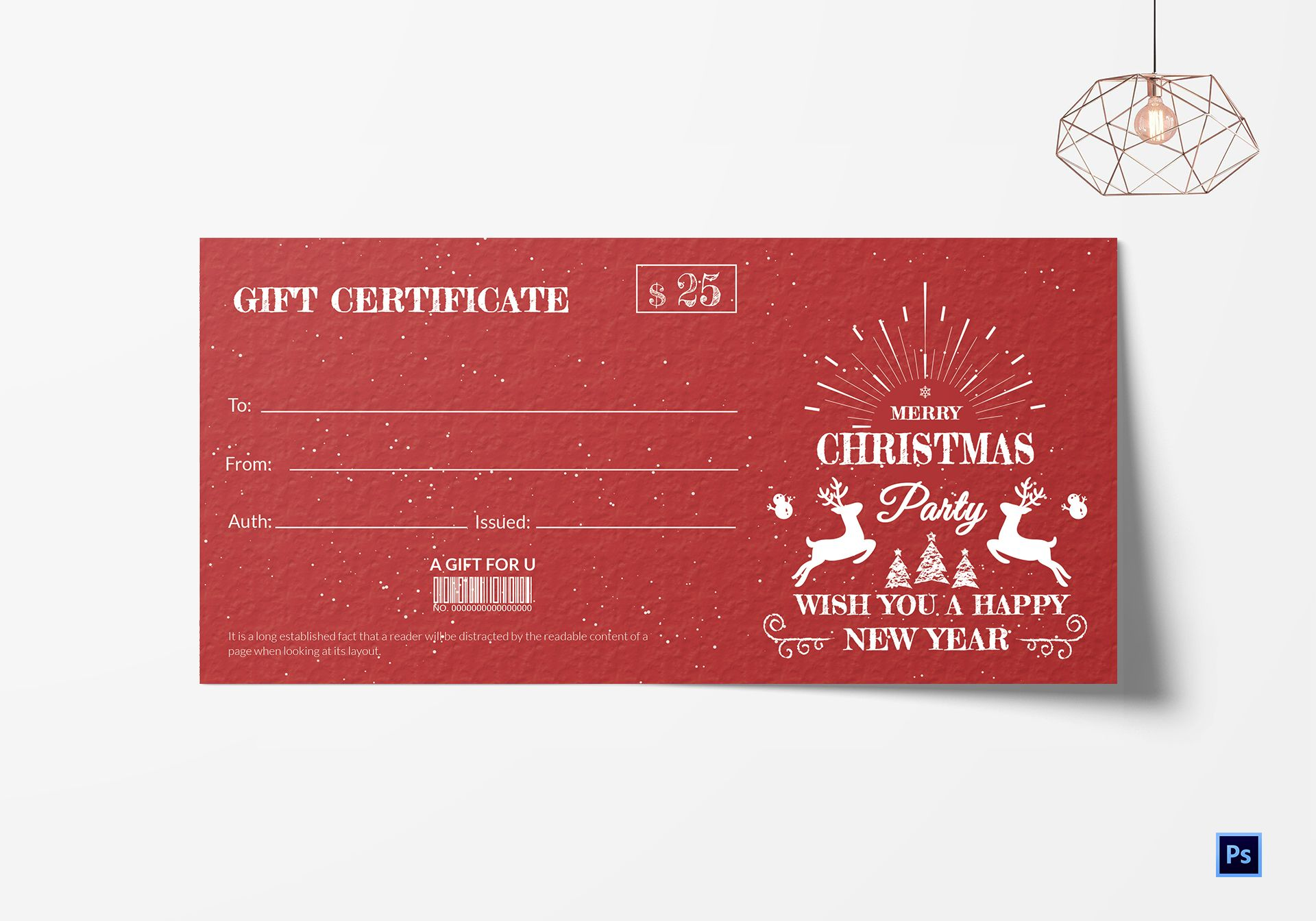 Christmas Celebration Gift Certificate Template