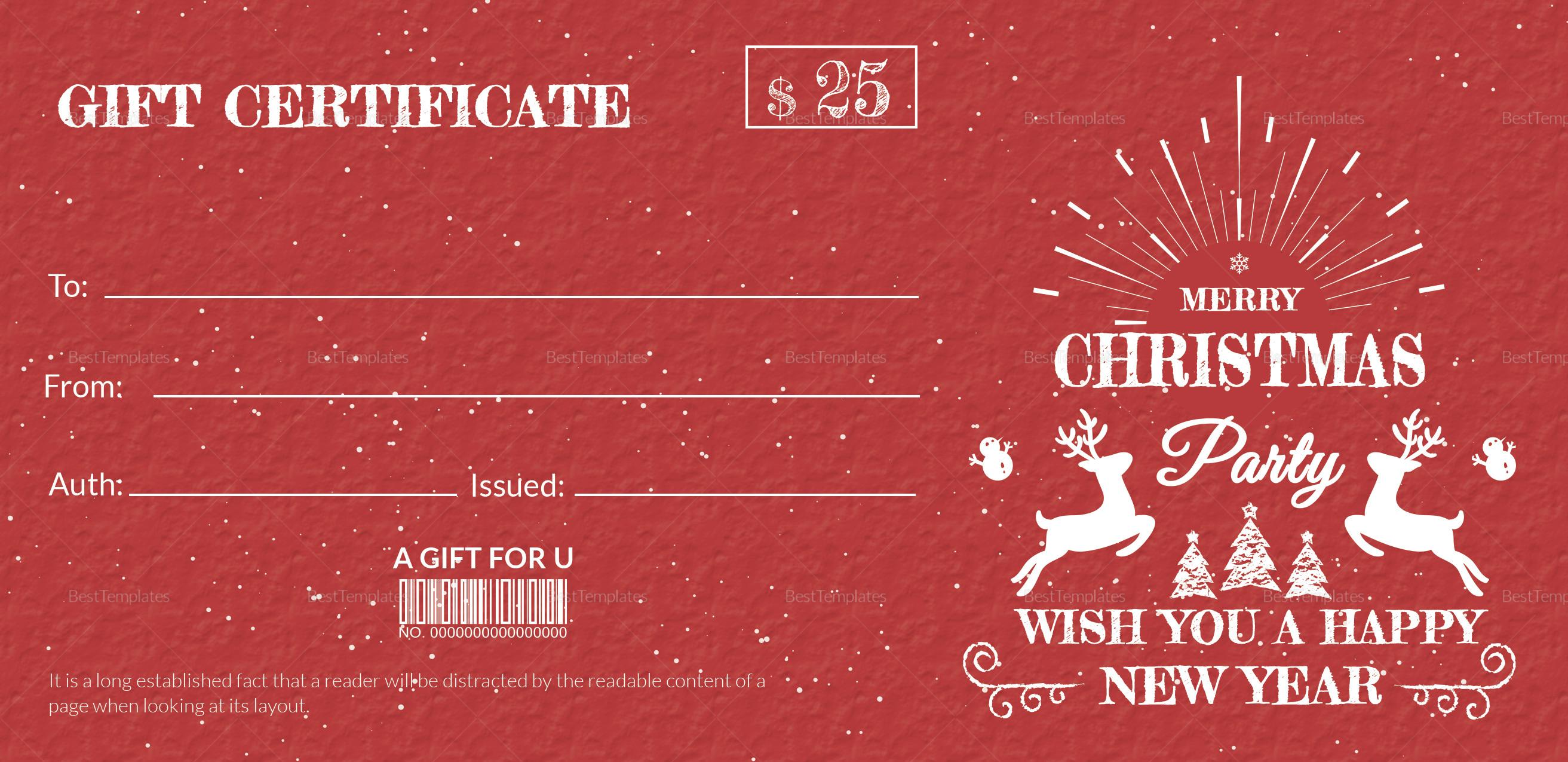 Christmas Celebration Gift Certificate
