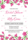 Pink Floral Bridal Shower Design Invitation Template