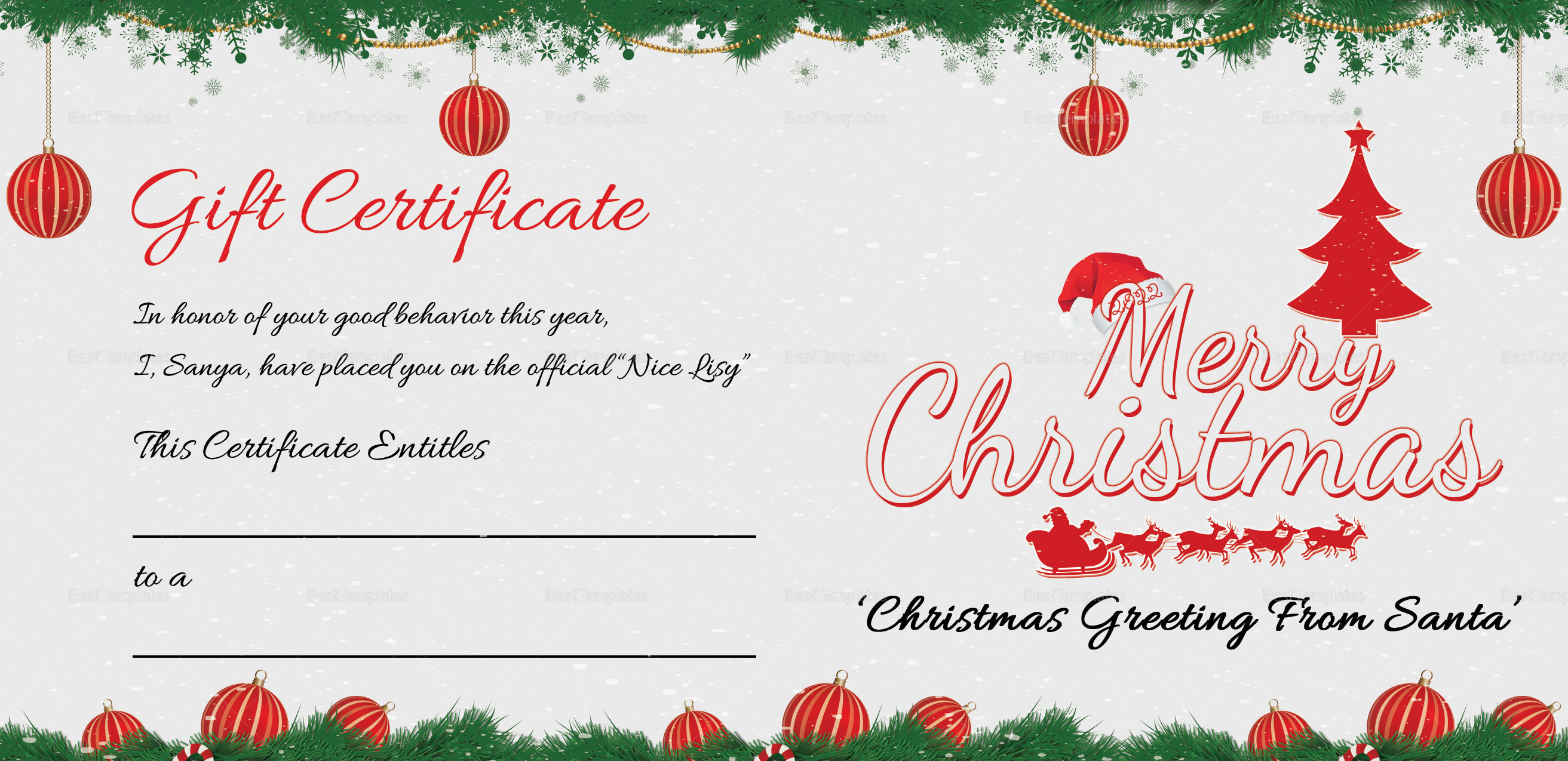 printable merry christmas gift certificate template in