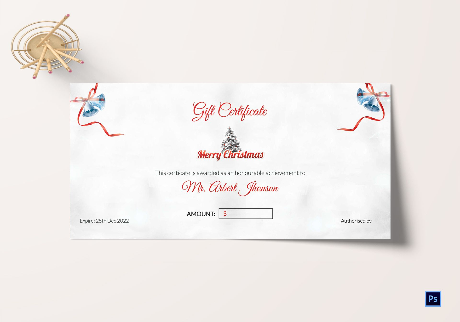 Christmas Bell Gift Certificate Template