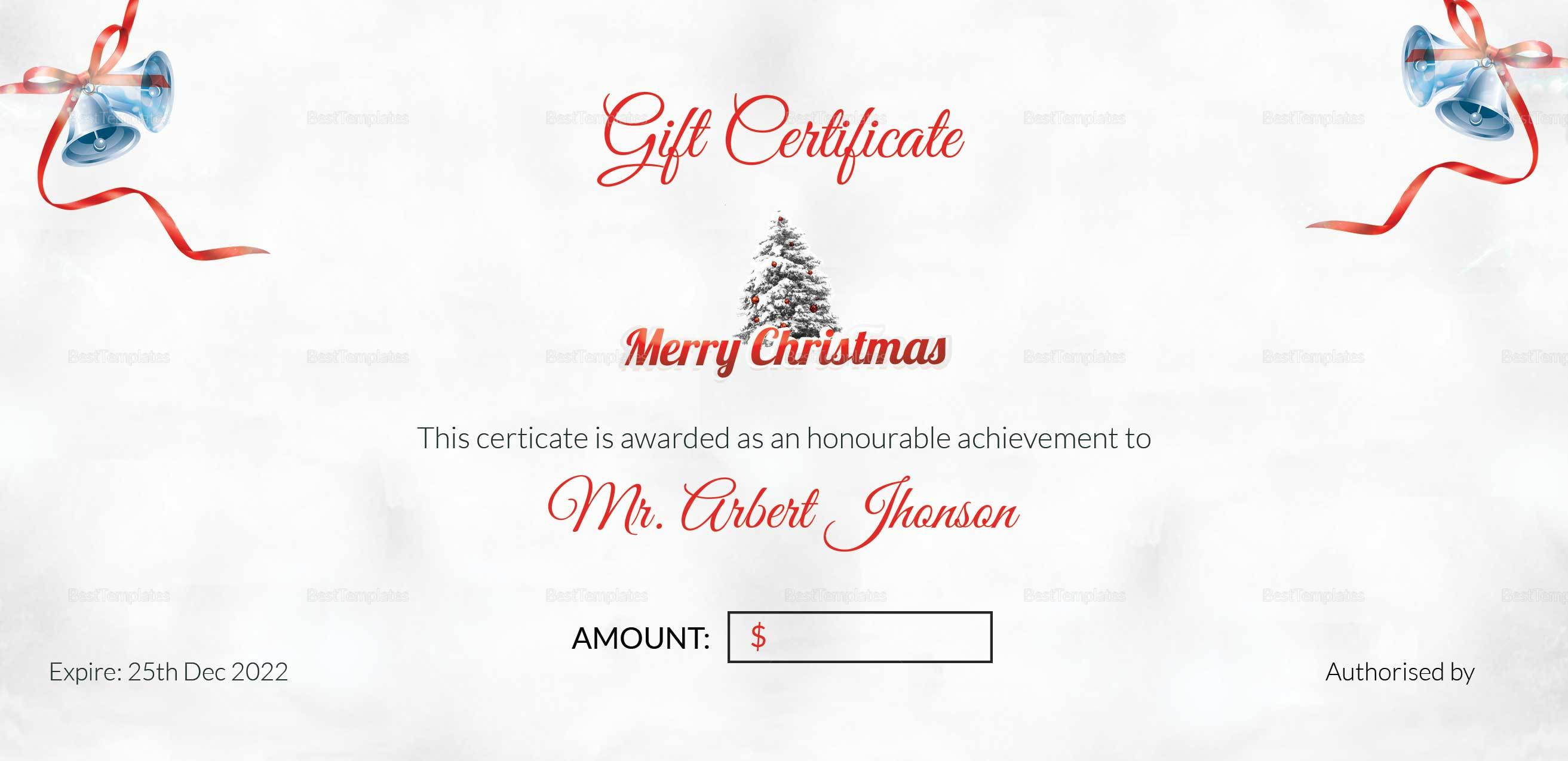 Christmas Bell Gift Certificate