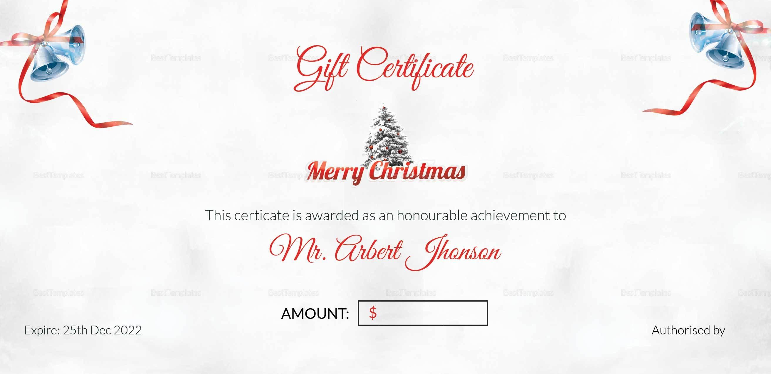 Christmas Bell Gift Certificate