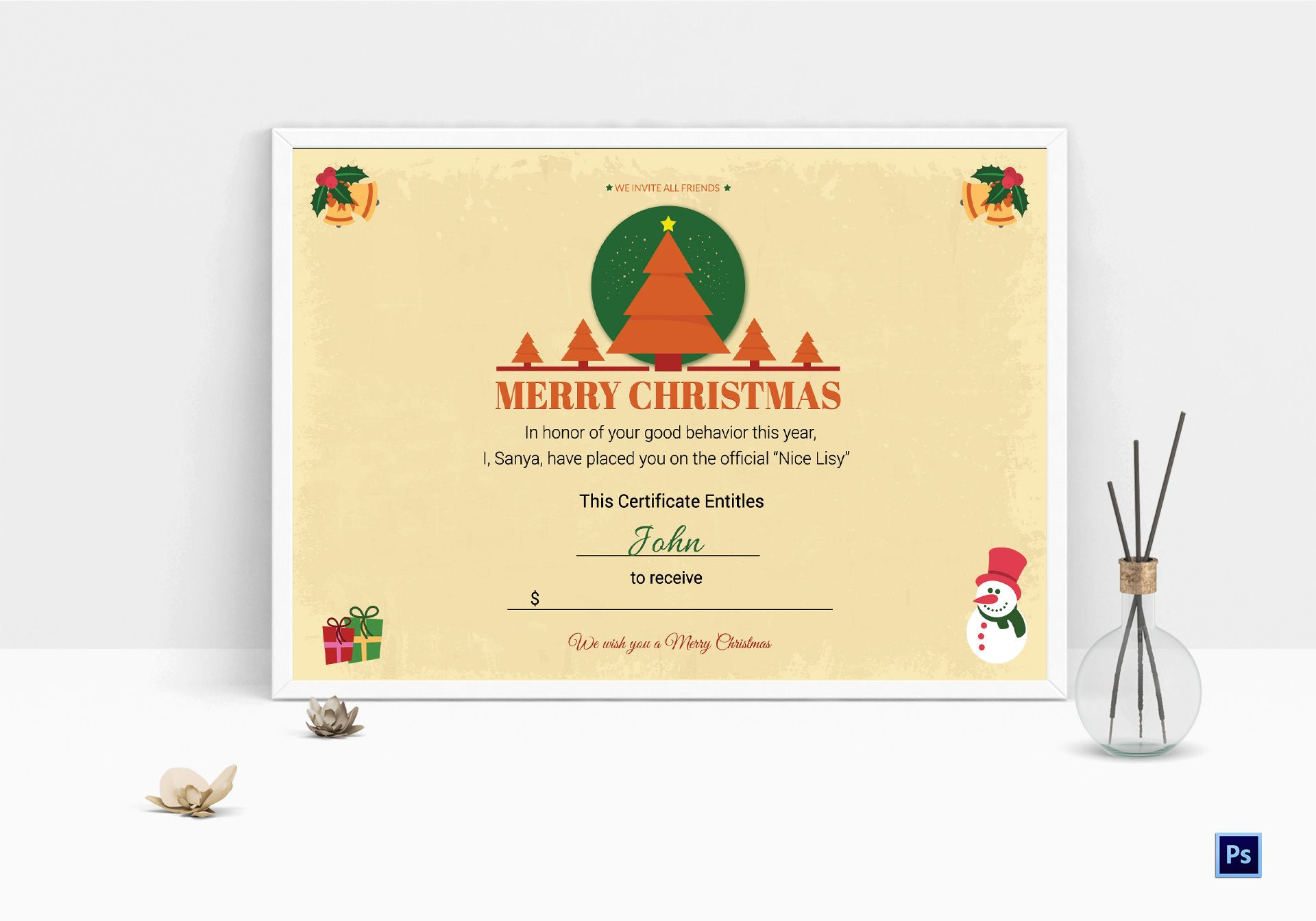 Printable Christmas Gift Certificate Template In Adobe Photoshop