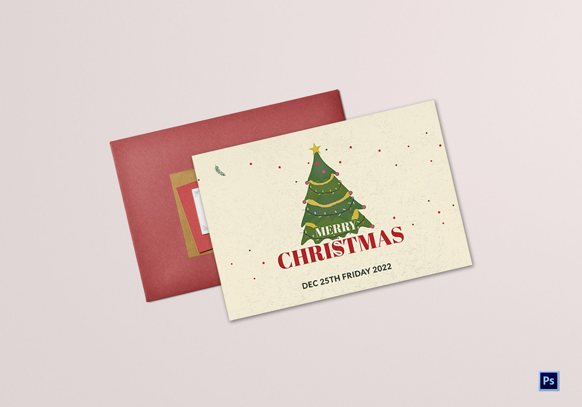 Christmas Wishes Greeting Card Template In Adobe Photoshop