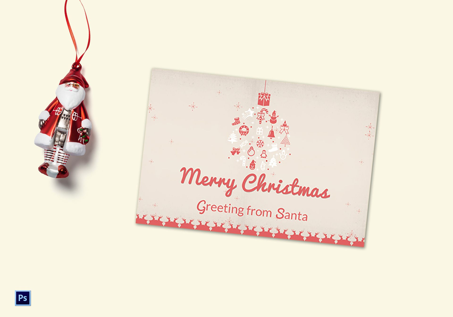 Pink Christmas Greeting Card Template