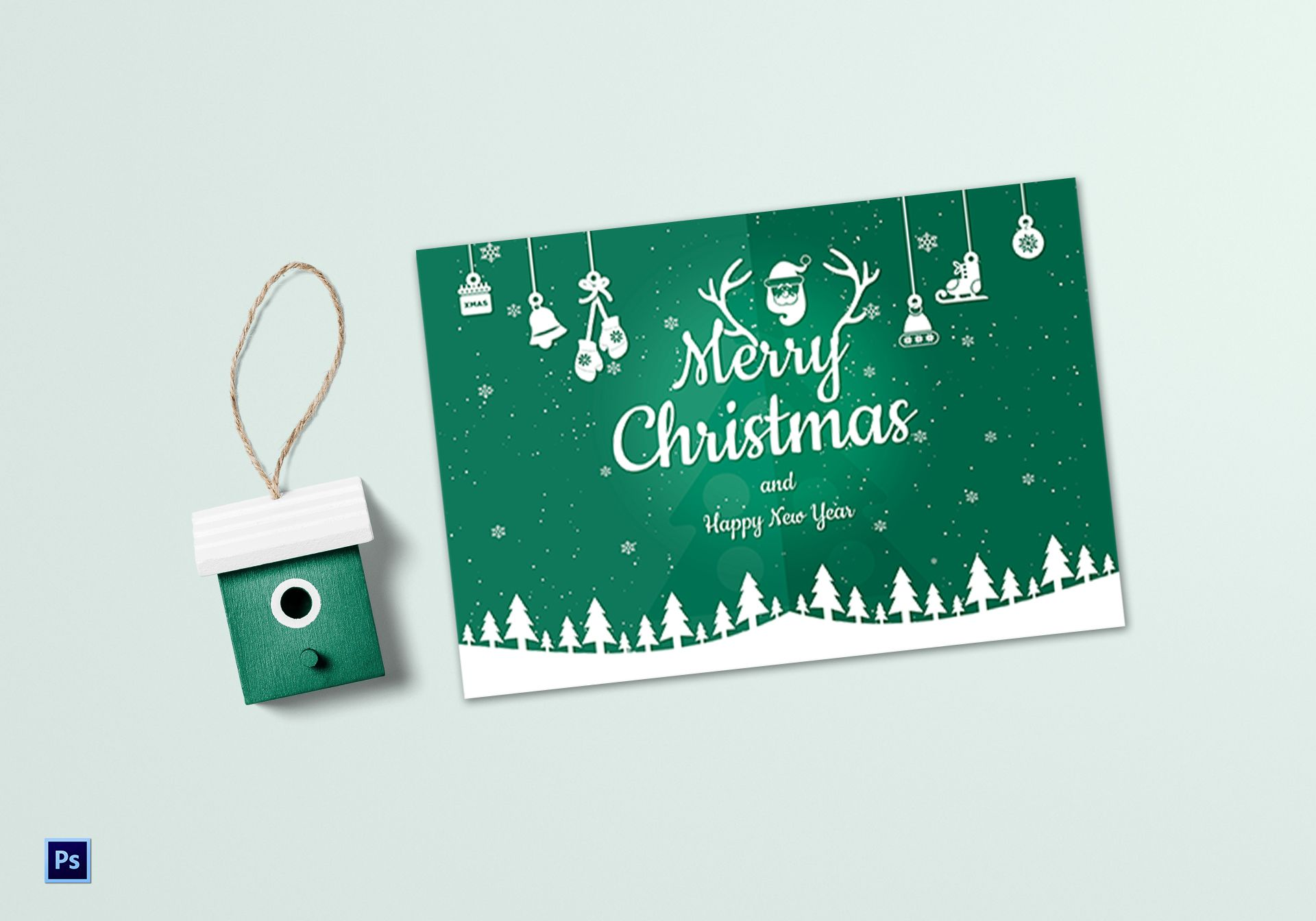 beautiful christmas greeting card template in adobe photoshop