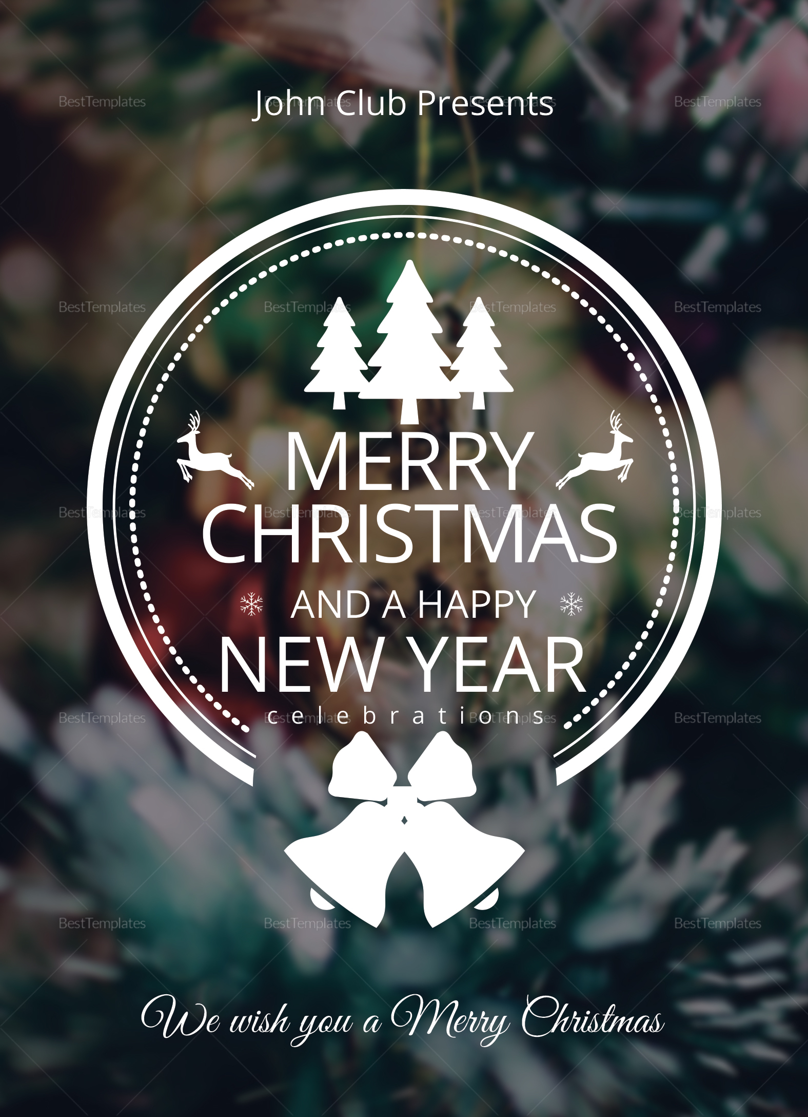 Frost Christmas Greeting Card Template in Adobe Photoshop