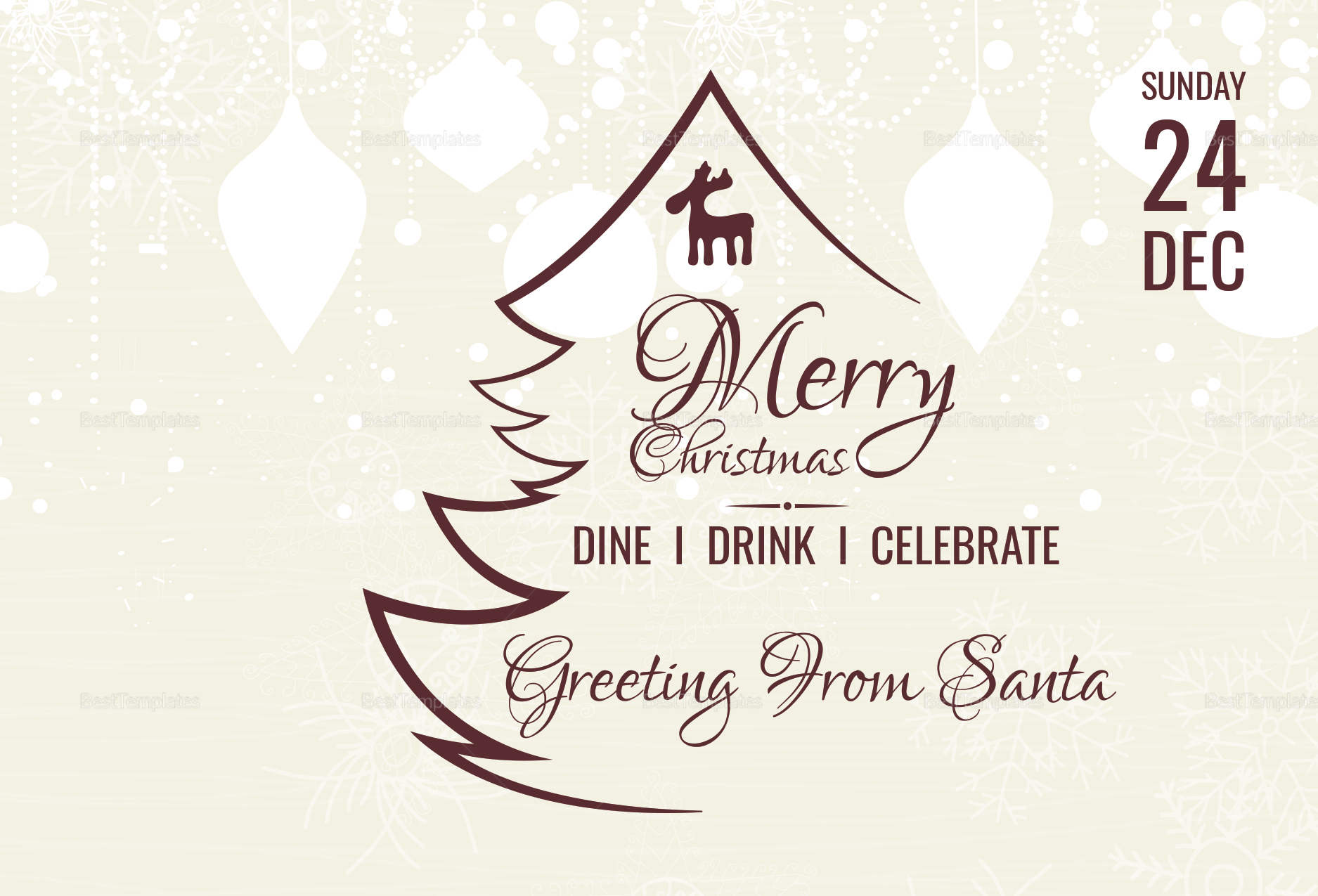 Elegant Christmas Templates: Elegant Christmas Greeting Card Template In Adobe Photoshop