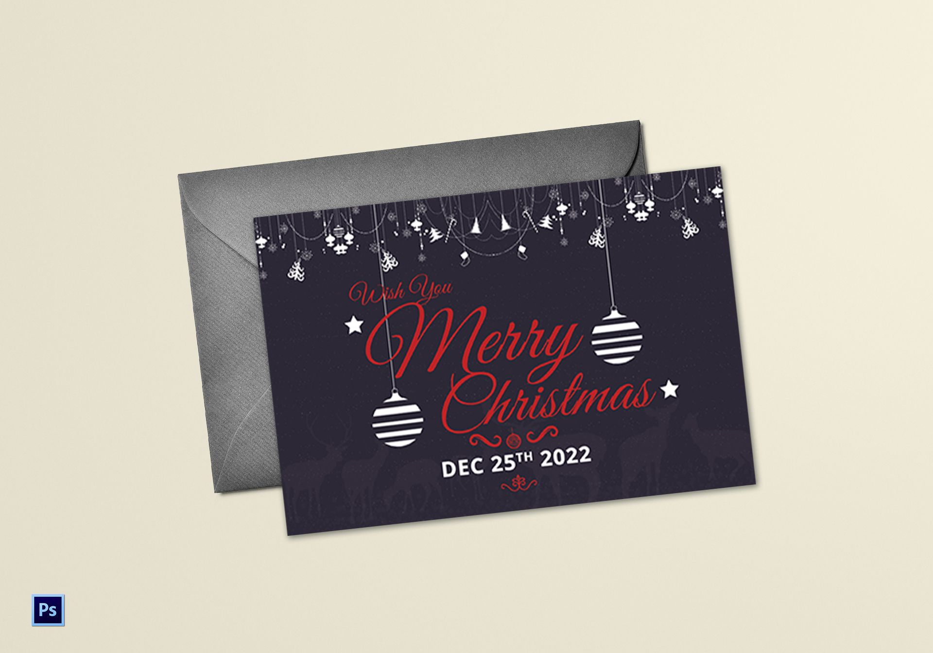 Sparkling Christmas Greeting Card Template In Adobe Photoshop