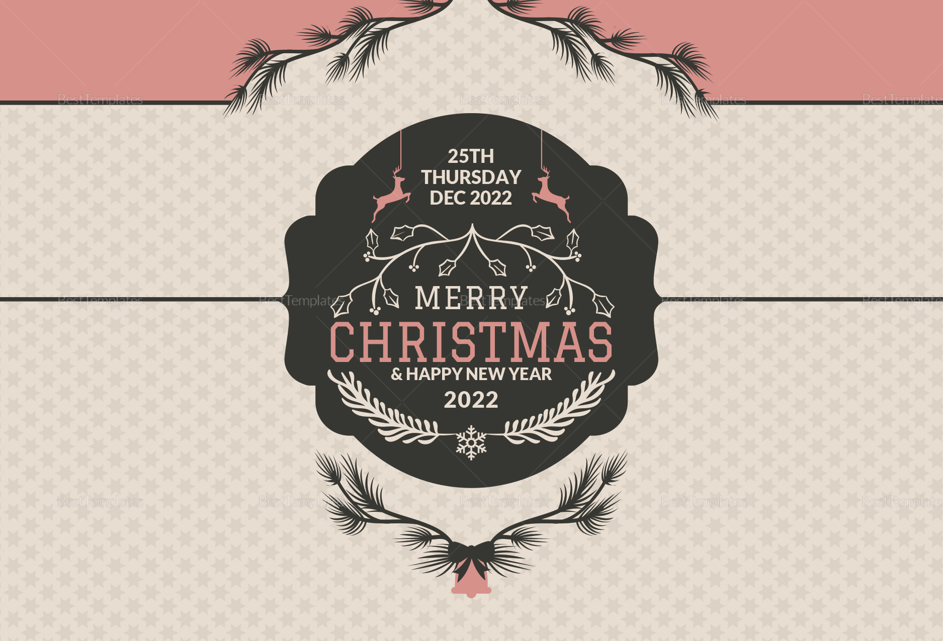 Simple Christmas Greeting Card Template in Adobe Photoshop