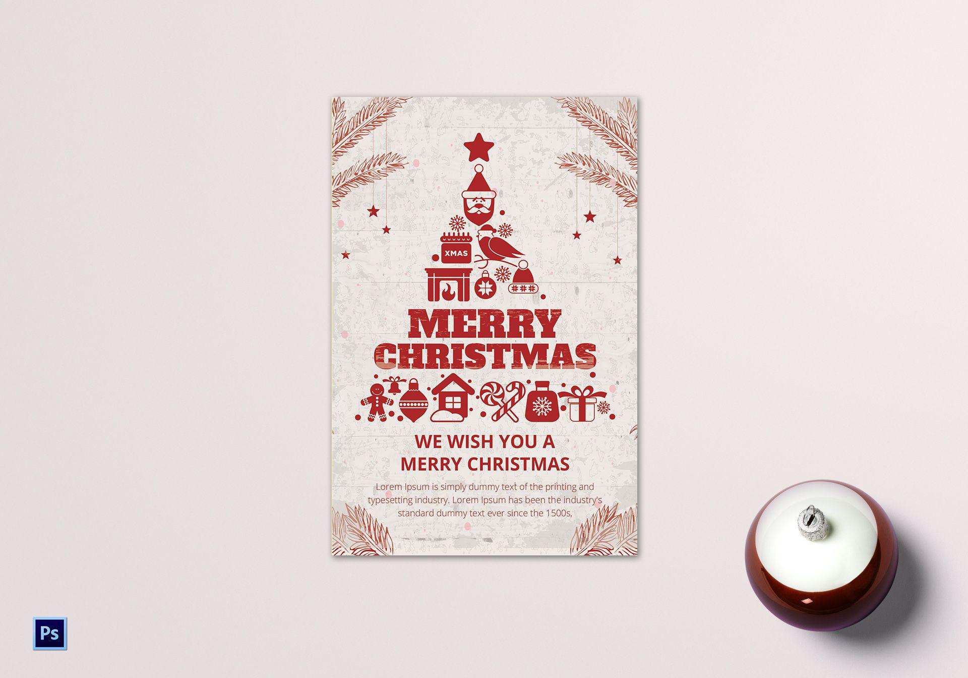 Christmas Card Printing.Red Christmas Greeting Card