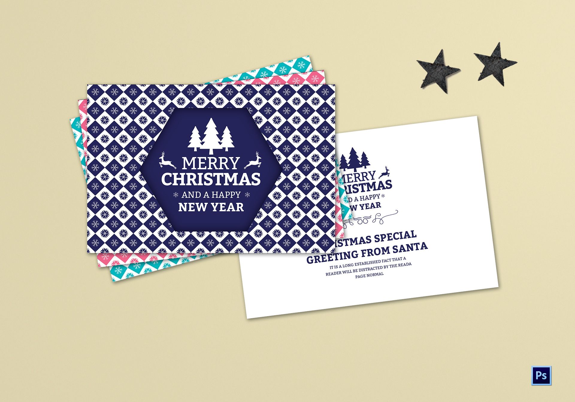 Editable Christmas Greeting Card Template In Adobe Photoshop
