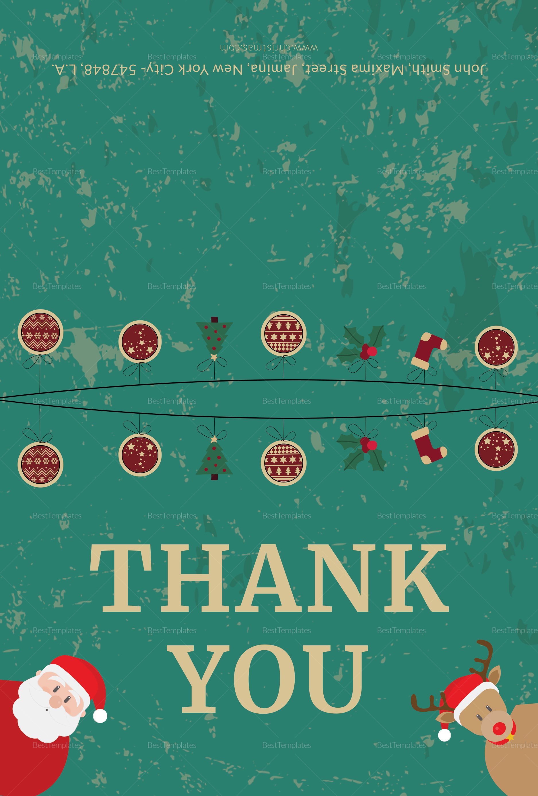 Editable Christmas Thank You Card Template In Adobe Photoshop
