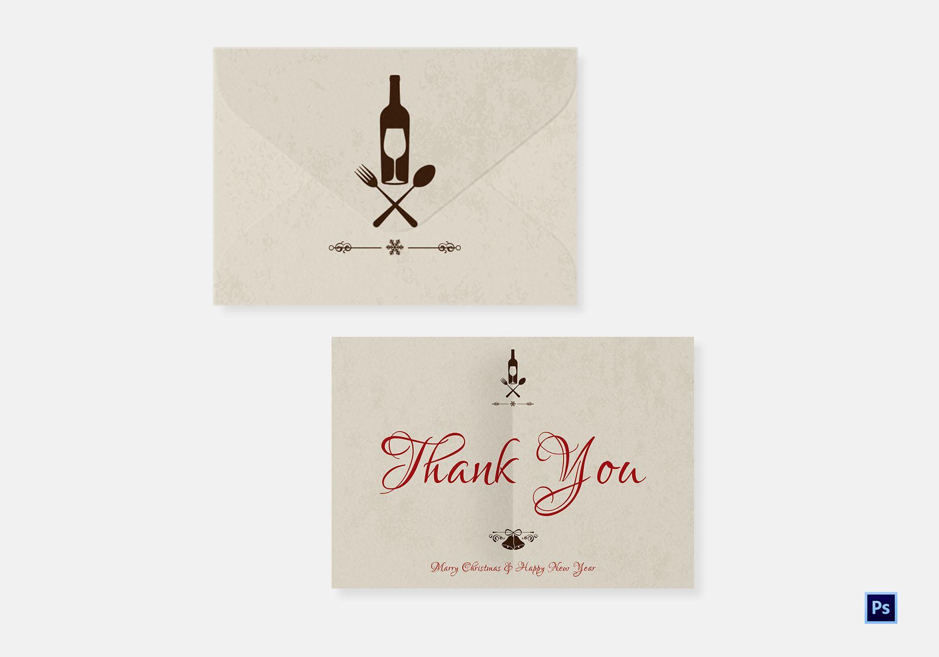 Restaurant Christmas Thank You Card Template