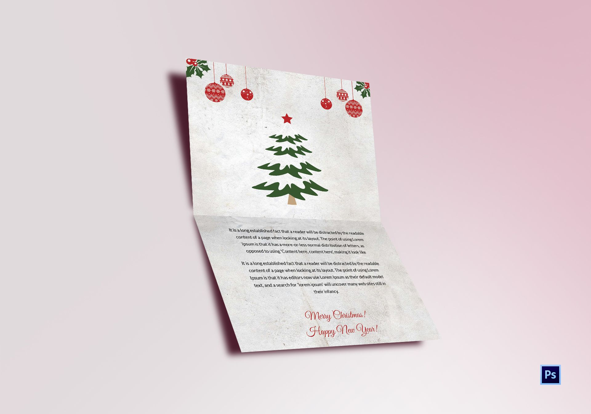Christmas Tree Thank You Card Template