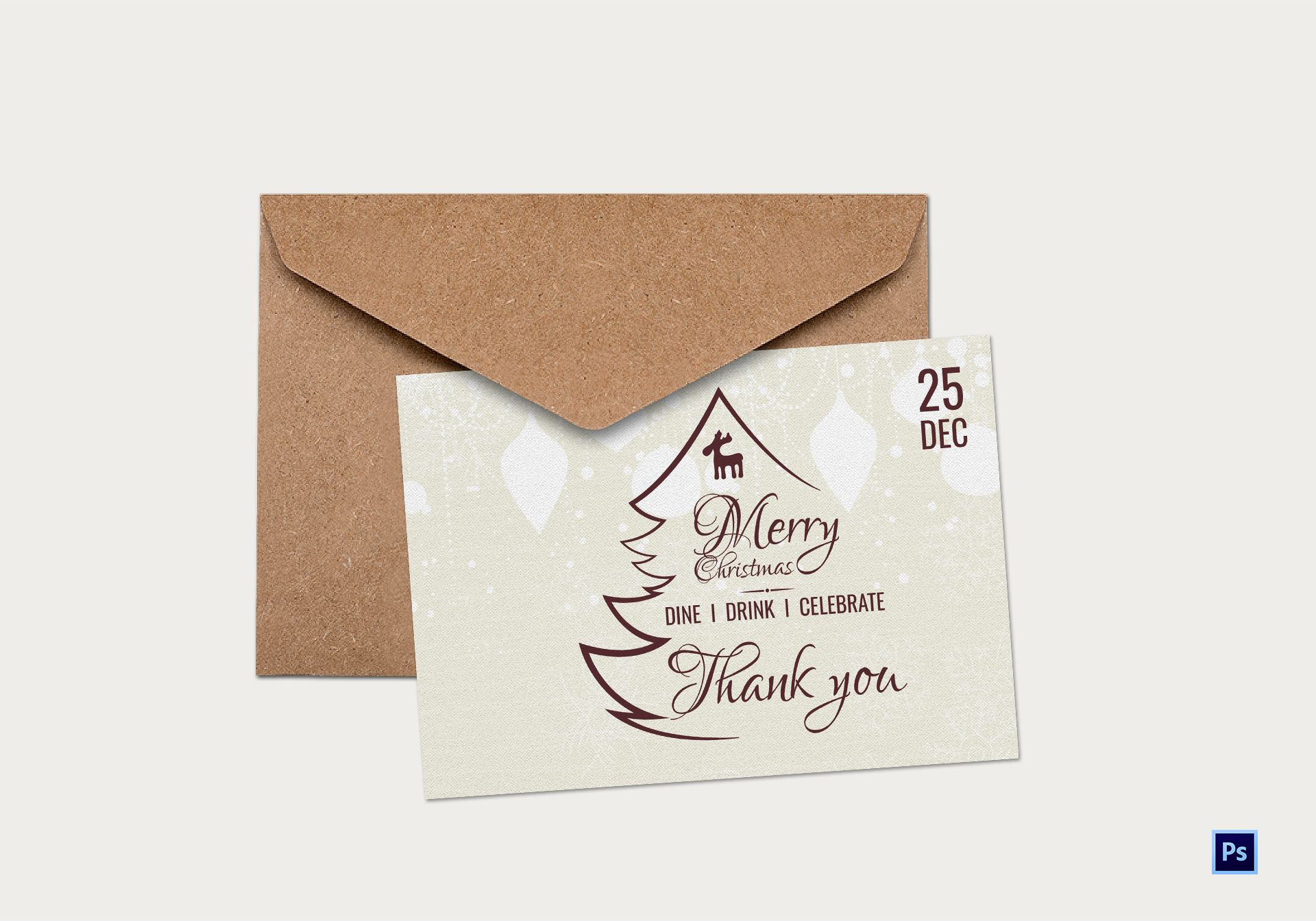 Vintage Christmas Thank You Card Template