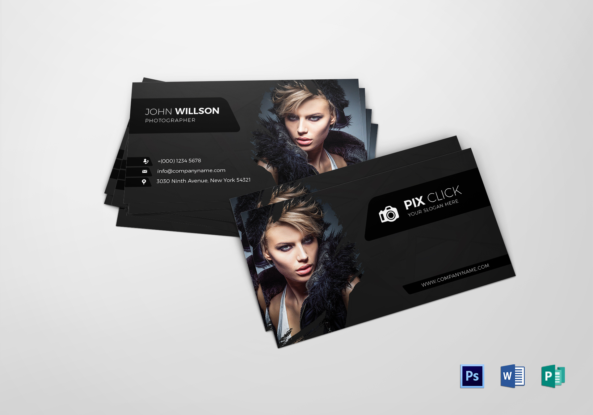Photographer business card design template in psd word publisher photographer business card photographer business card template cheaphphosting Image collections