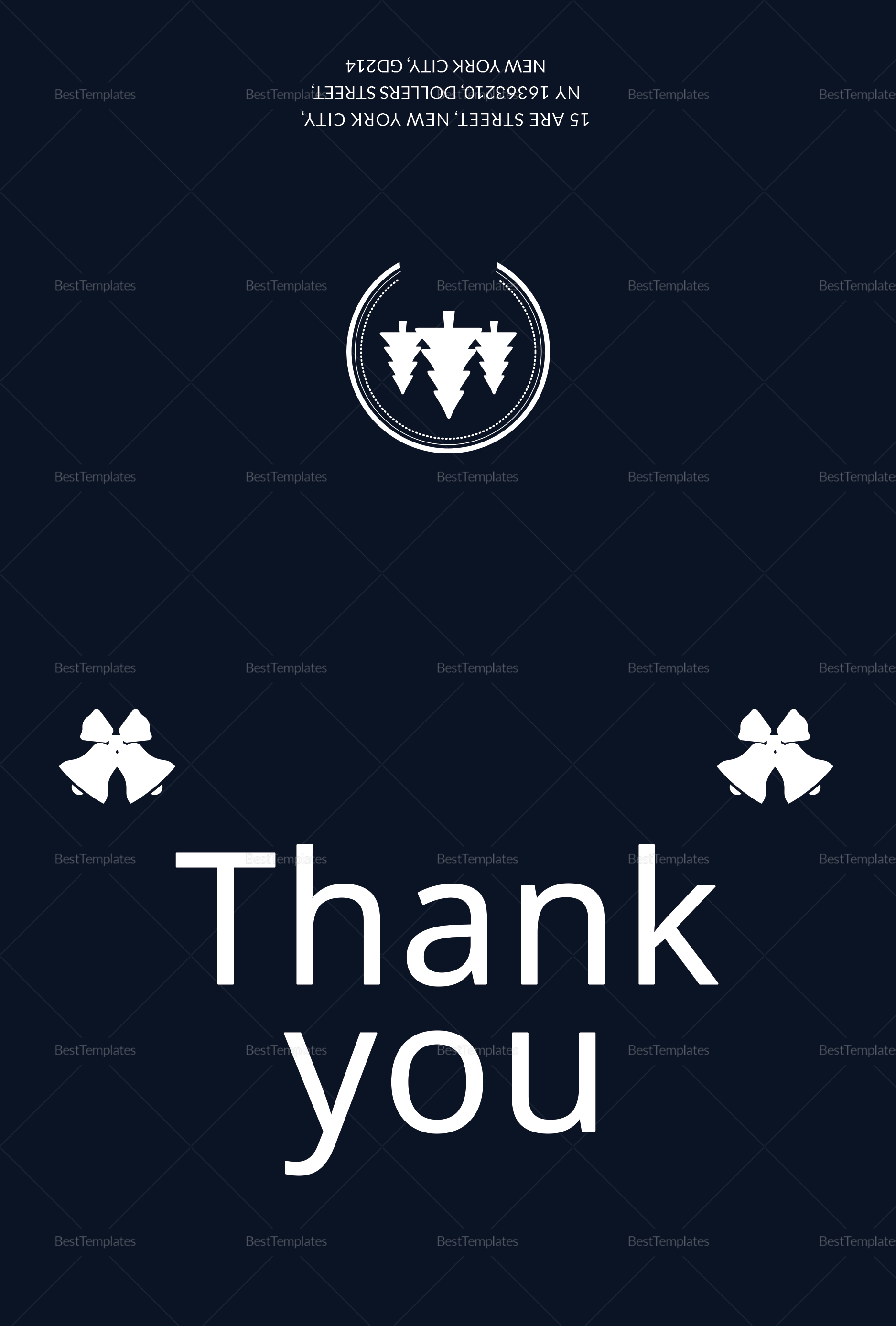 Blue Christmas Thank You Card