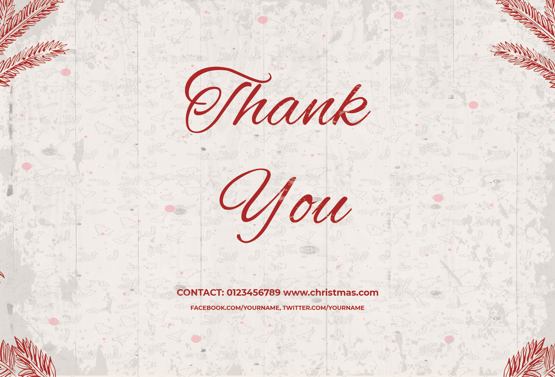 Christmas Wishes Thank You Card